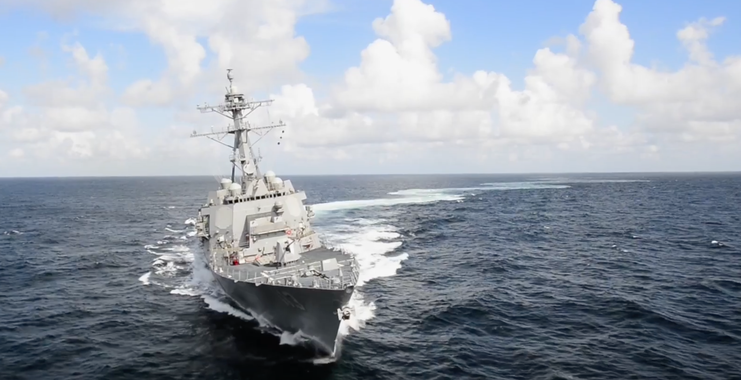 John Finn (DDG-113) during builders trials in the Gulf of Mexico. HII Photo