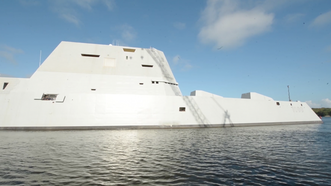 Video: Destroyer Zumwalt Leaves Bath Iron Works