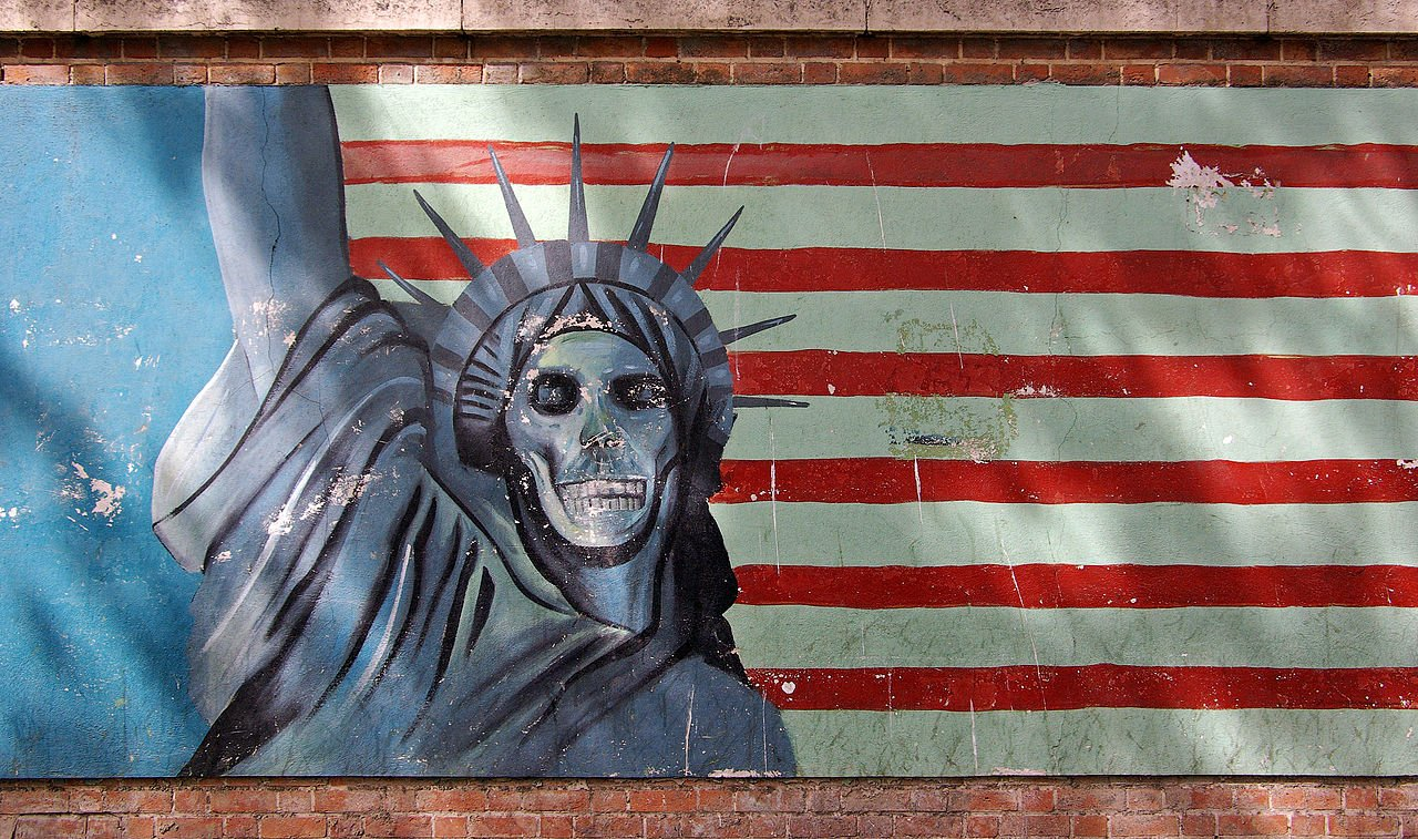 Grafitti on the former U.S. Embassy in Tehran, Iran in 2009. Photo by Phillip Maiwald