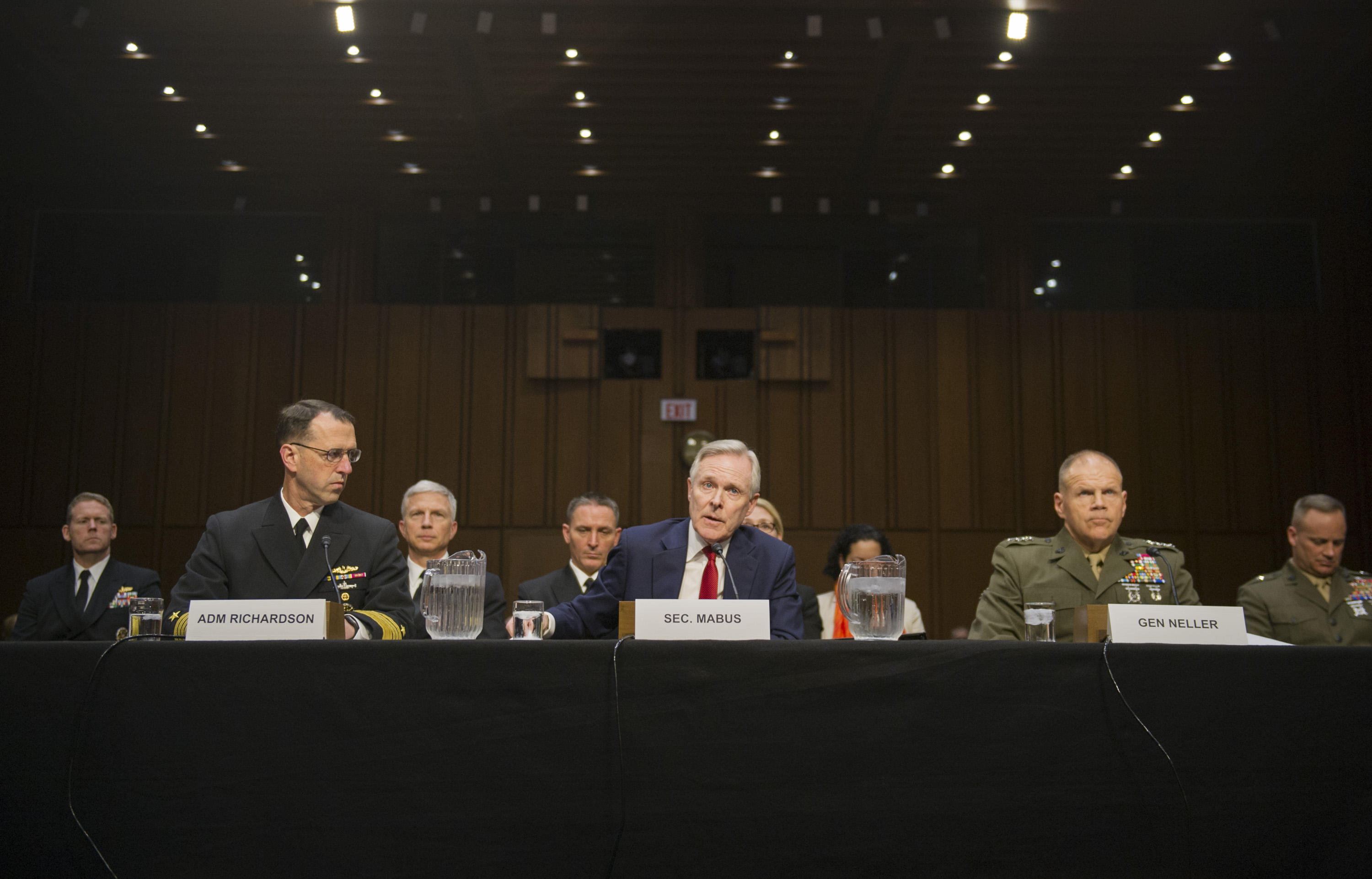 Secretary of the Navy (SECNAV) Ray Mabus testifies before the Senate Armed Services Committee on the Department of Navy's fiscal year 2017 budget and posture. US Navy Photo