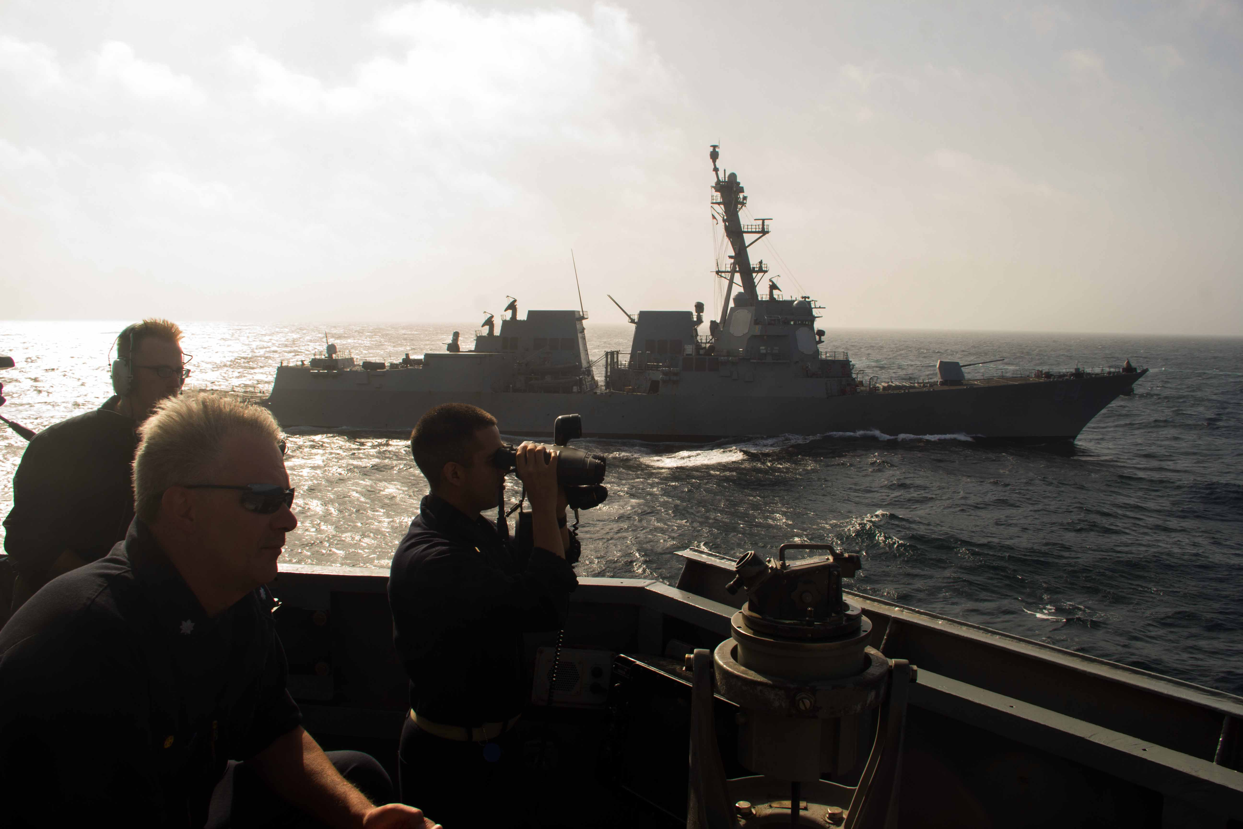 Sailors on USS Mason (DDG-87) during an anti-submarine formation exercise with the guided-missile destroyer USS Nitze (DDG 94) on Aug. 28, 2016. US Navy Photo