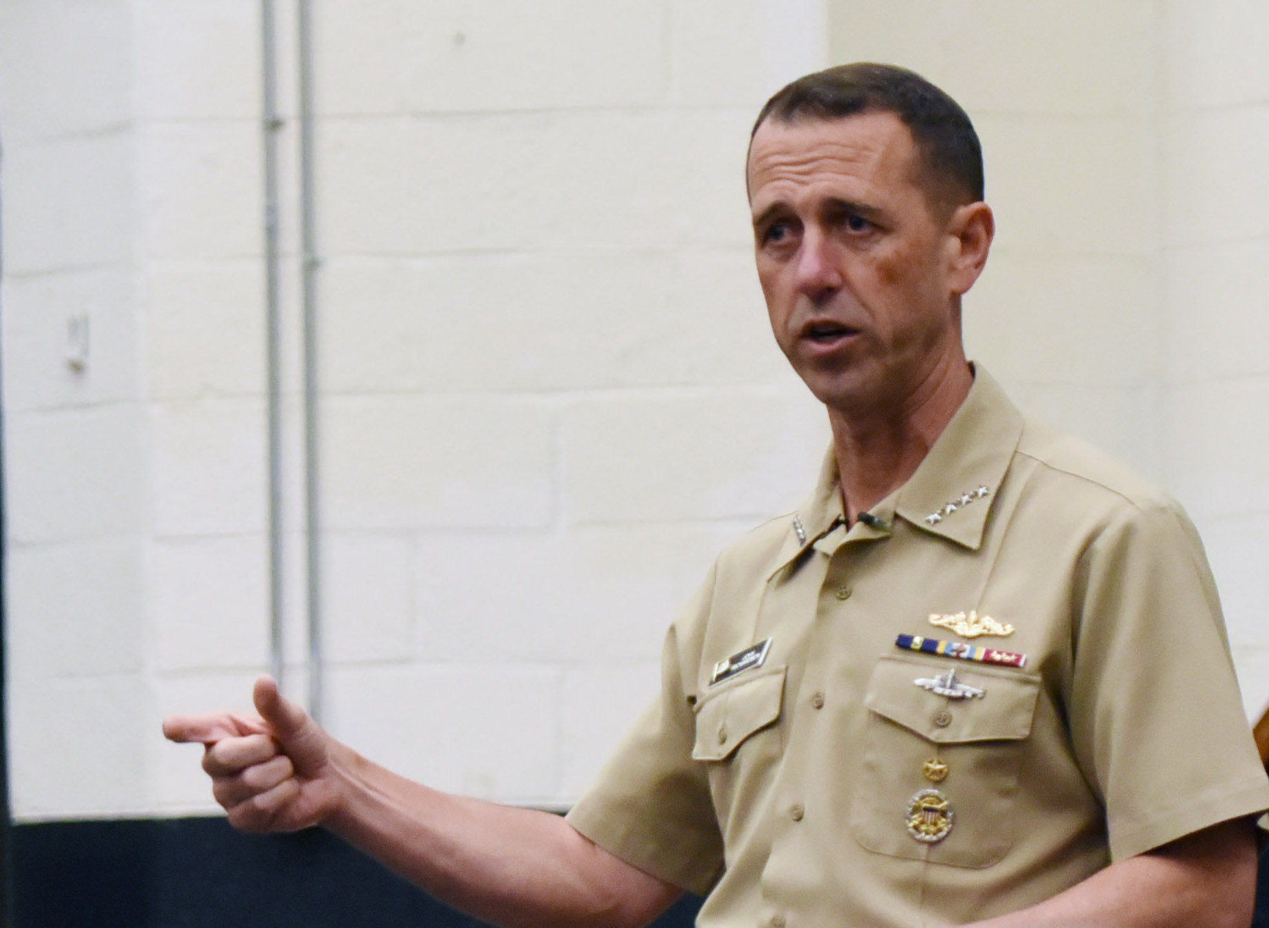 160929-N-OT964-120 NORFOLK (Sept. 29, 2016) Chief of Naval Operations (CNO) Adm. John Richardson speaking at Naval Station Norfolk, Va. on Sept. 29, 2016. US Navy Photo