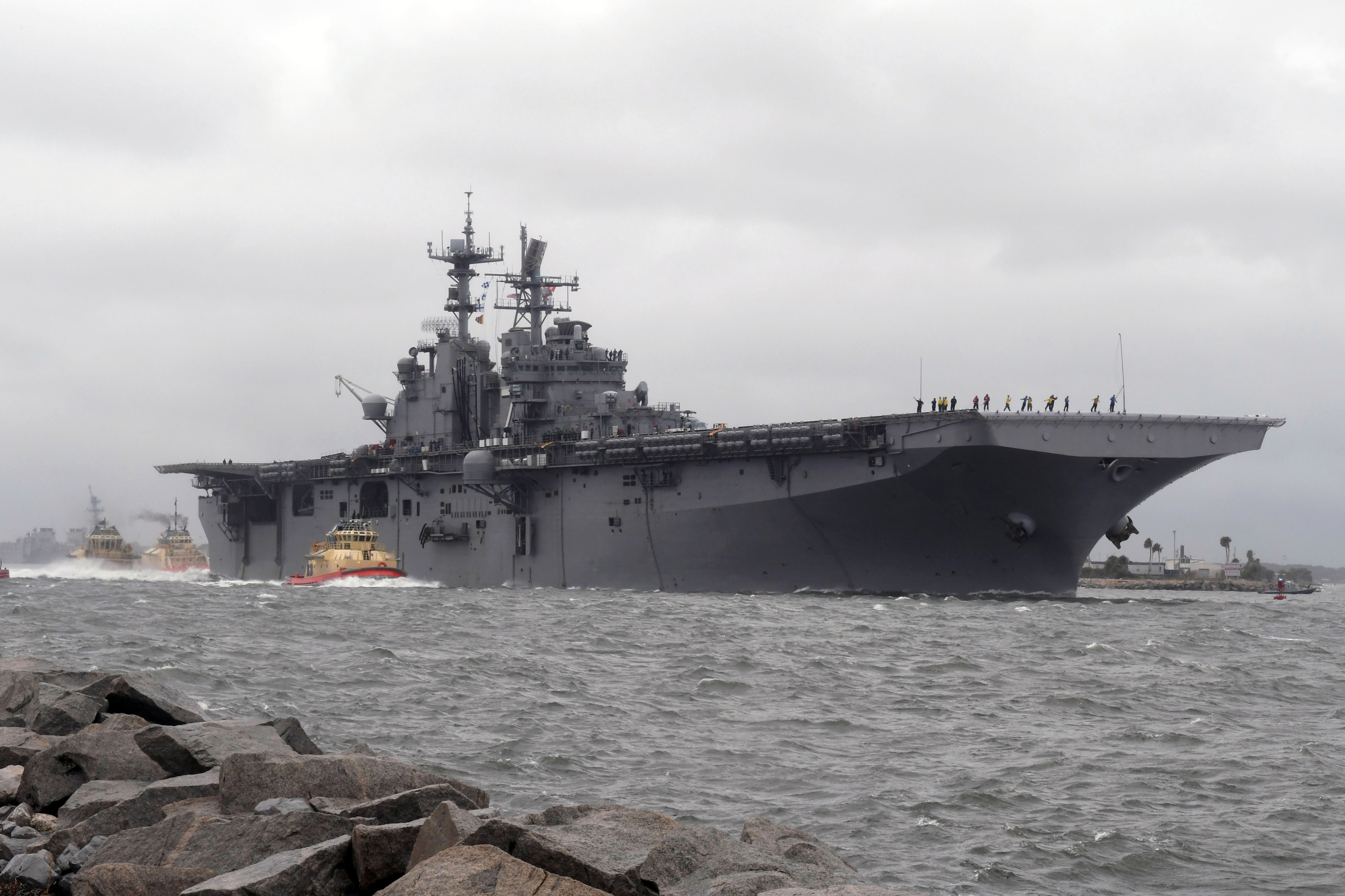 Amphibious assault ship USS Iwo Jima (LHD 7) departs Naval Station Mayport in preparation of Hurricane Matthew's arrival onto Florida's eastern coast. US Navy photo.