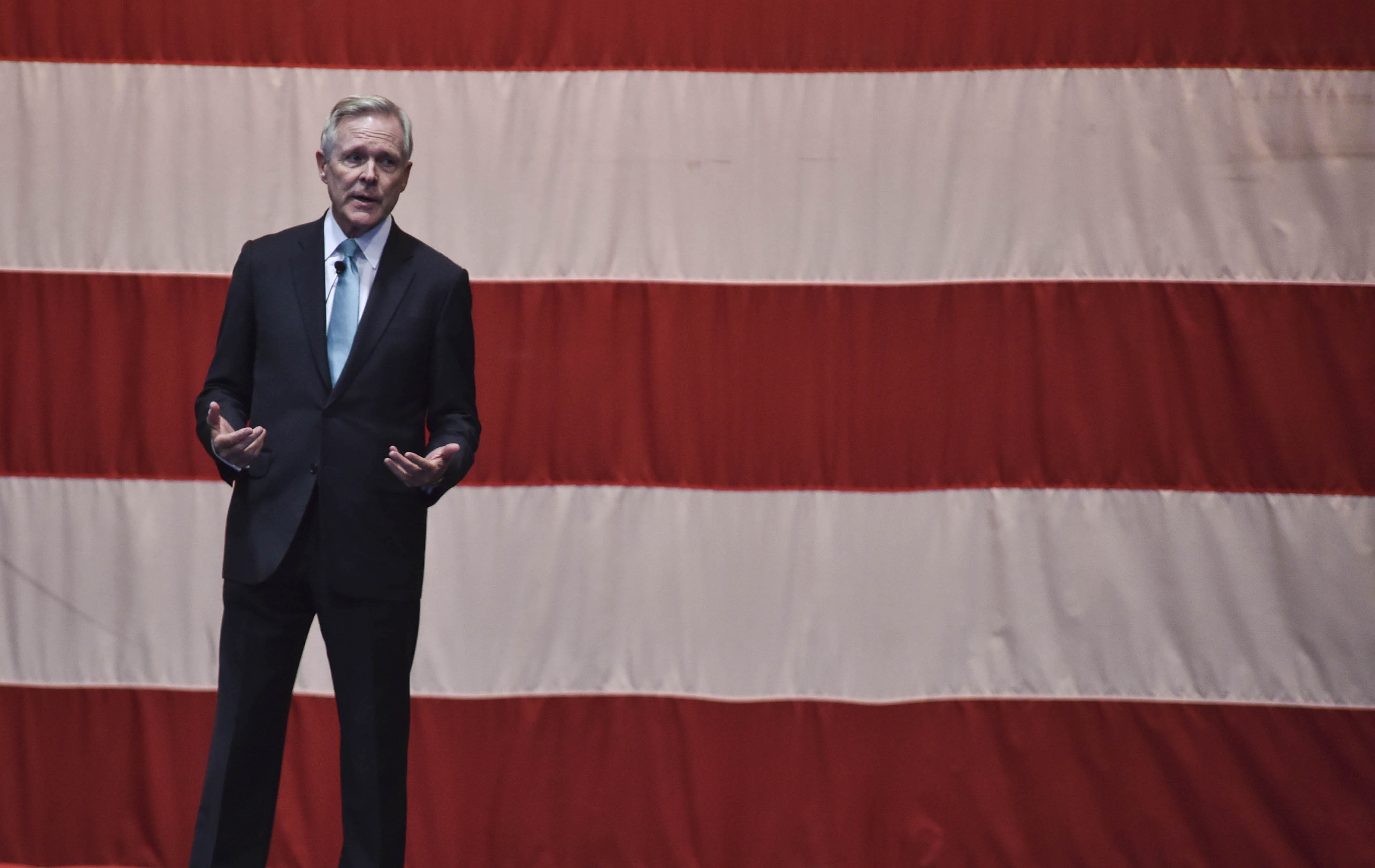 Secretary of the Navy Ray Mabus speaks during an all-hands call at Naval Base Kitsap-Bremerton on Oct. 21, 2016. US Navy