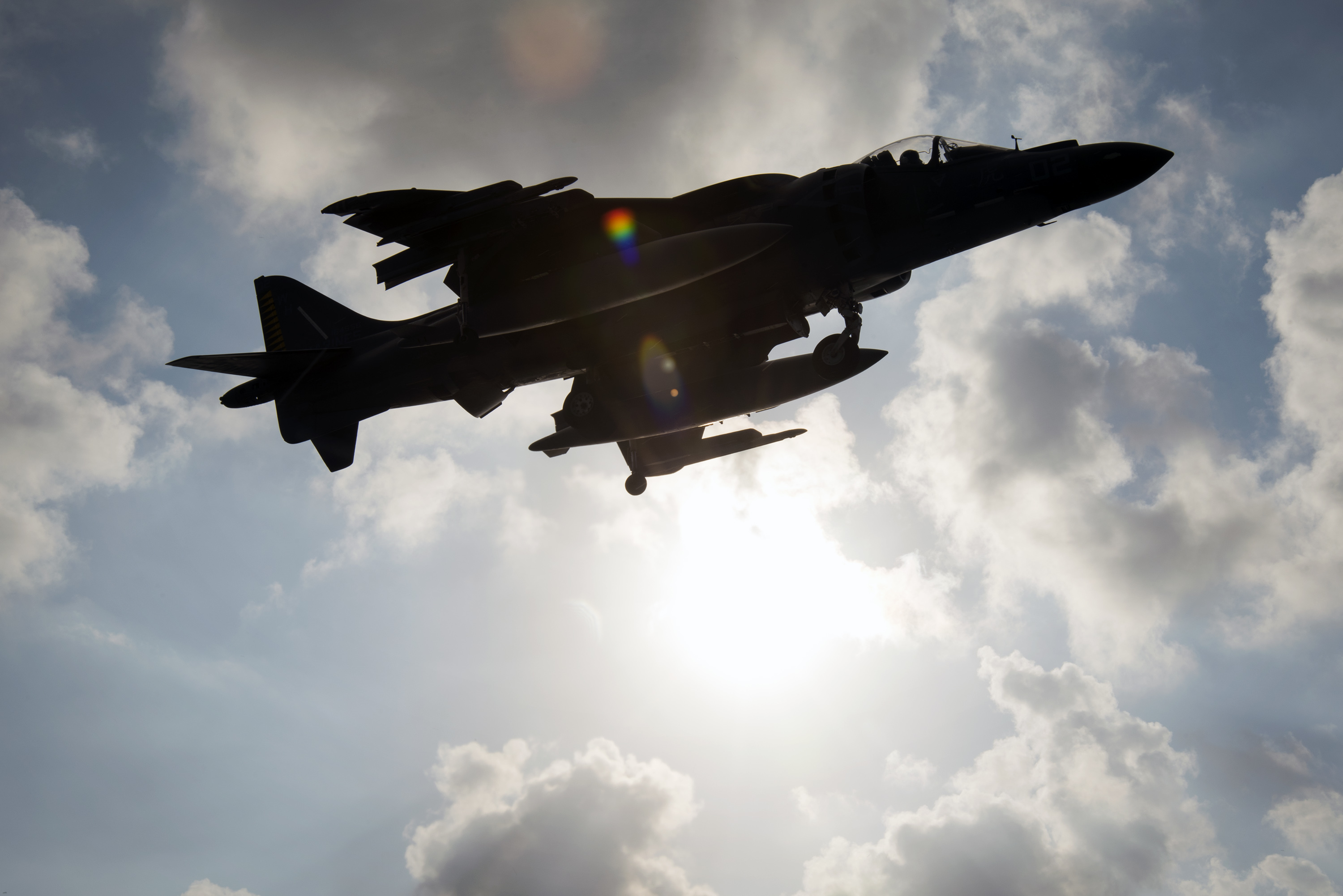 an av 8b harrier assigned to marine attack squadron vma 542 lands aboard