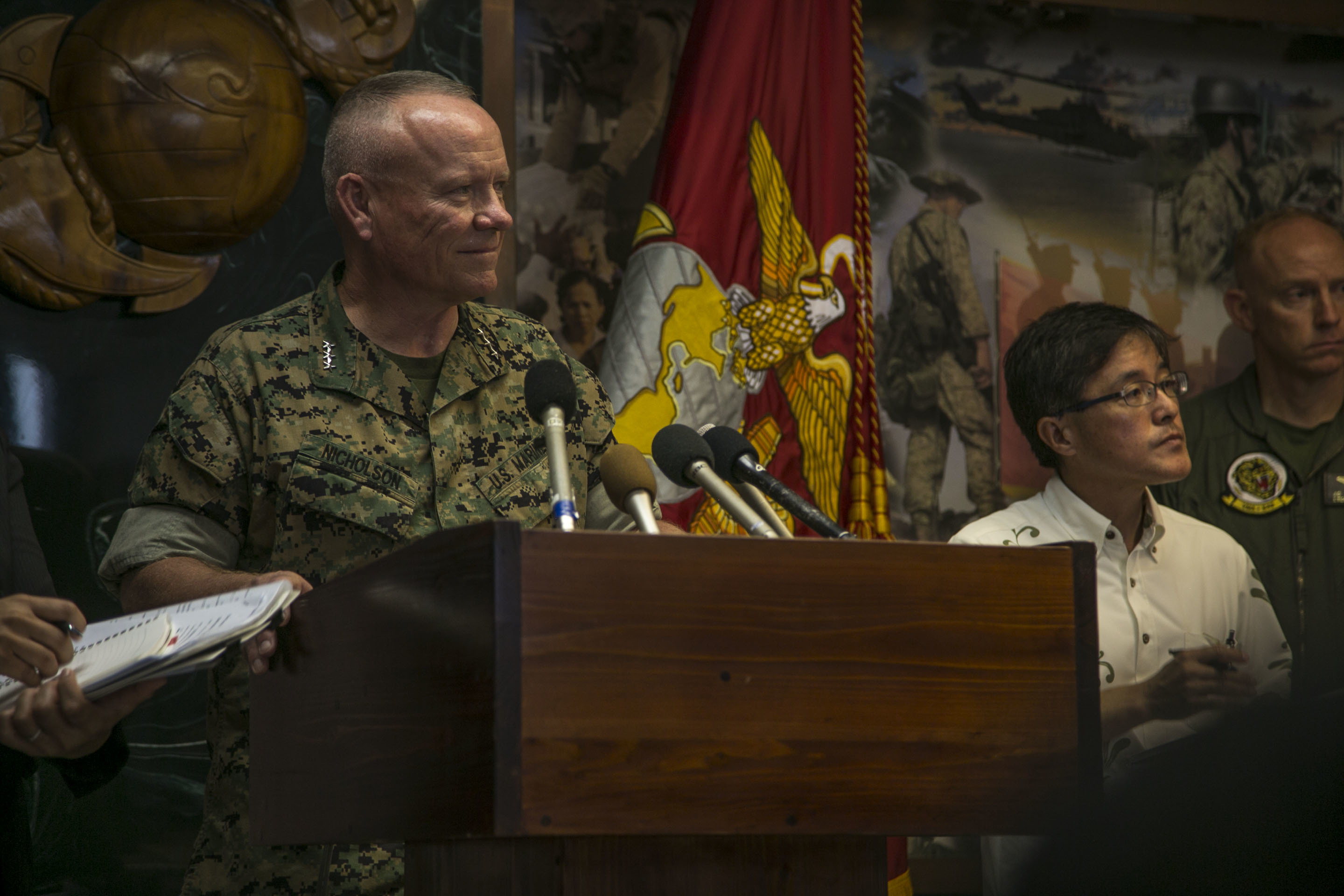 Lt. Gen. Lawrence D. Nicholson announces the resumption of AV-8B Harrier flight operations in Japan during a press conference Oct. 5, 2016 on Camp Foster, Okinawa, Japan following a Harrier mishap that occurred approximately 115 nautical miles off the coast of Okinawa, Sept. 22. US Marine Corps photo.