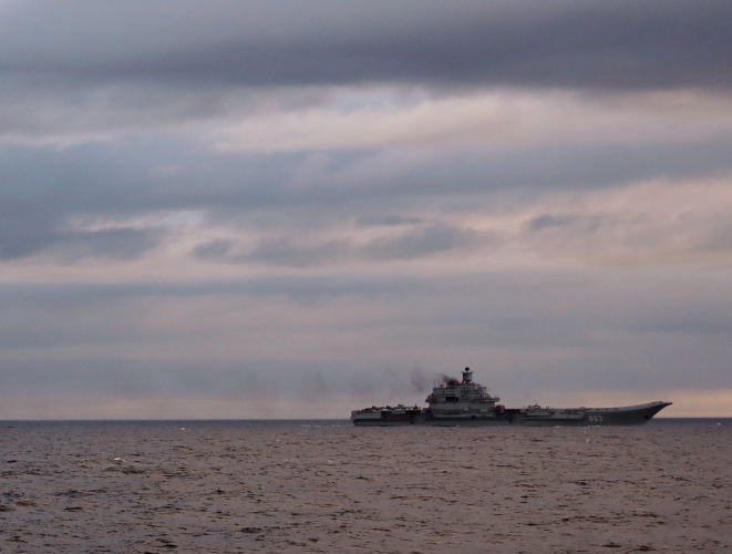 Russian aircraft carrier, Admiral Kuznetsov in transit to the Mediterranean Sea on Oct. 18, 2016. UK MoD Photo