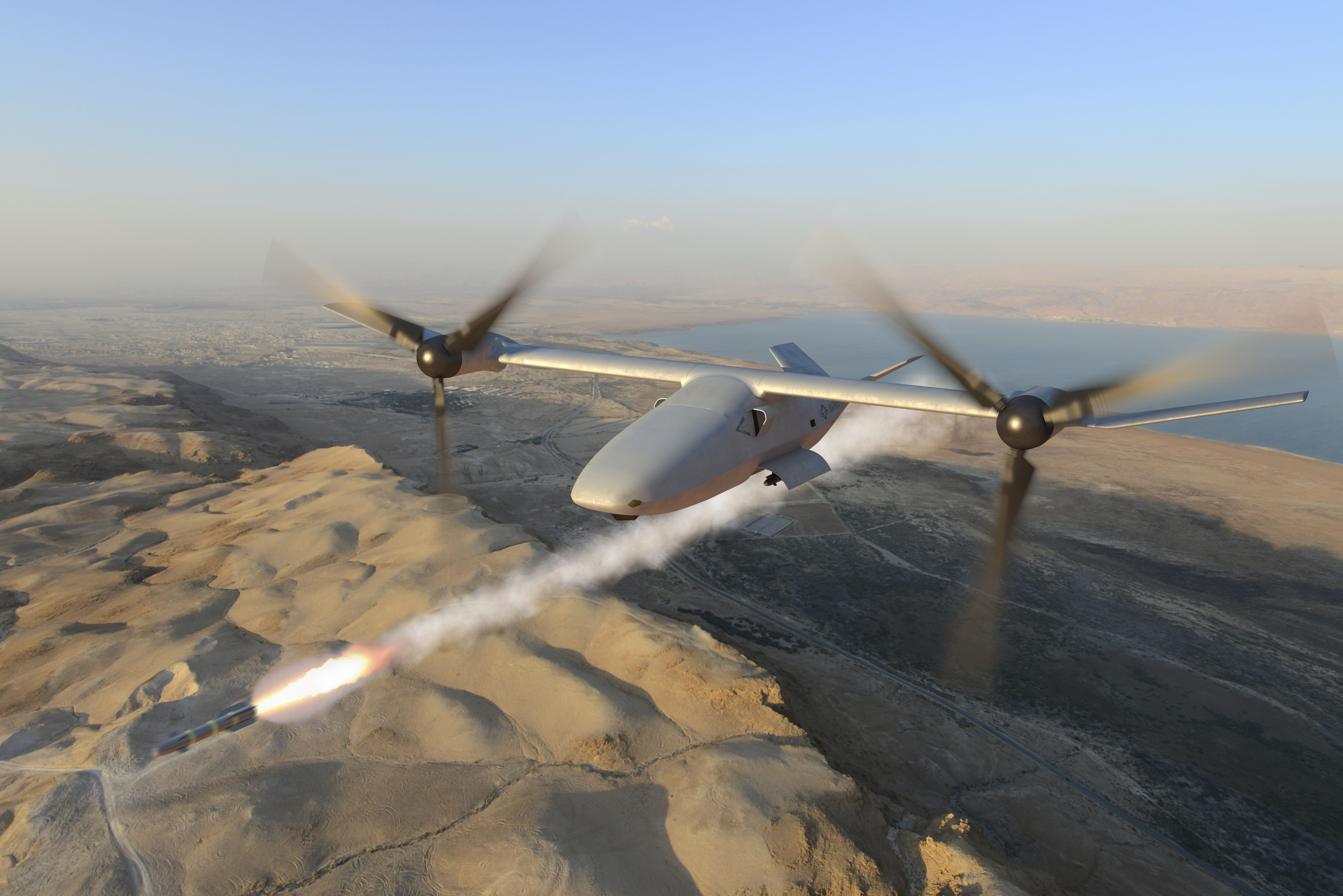 The Bell V-247 tiltrotor is an unmanned aerial system (UAS) that will combine the vertical lift capability of a helicopter with the speed and range of a conventional fixed-wing aircraft, and would provide long-endurance persistent expeditionary and surveillance and fires capabilities. Bell rendering.
