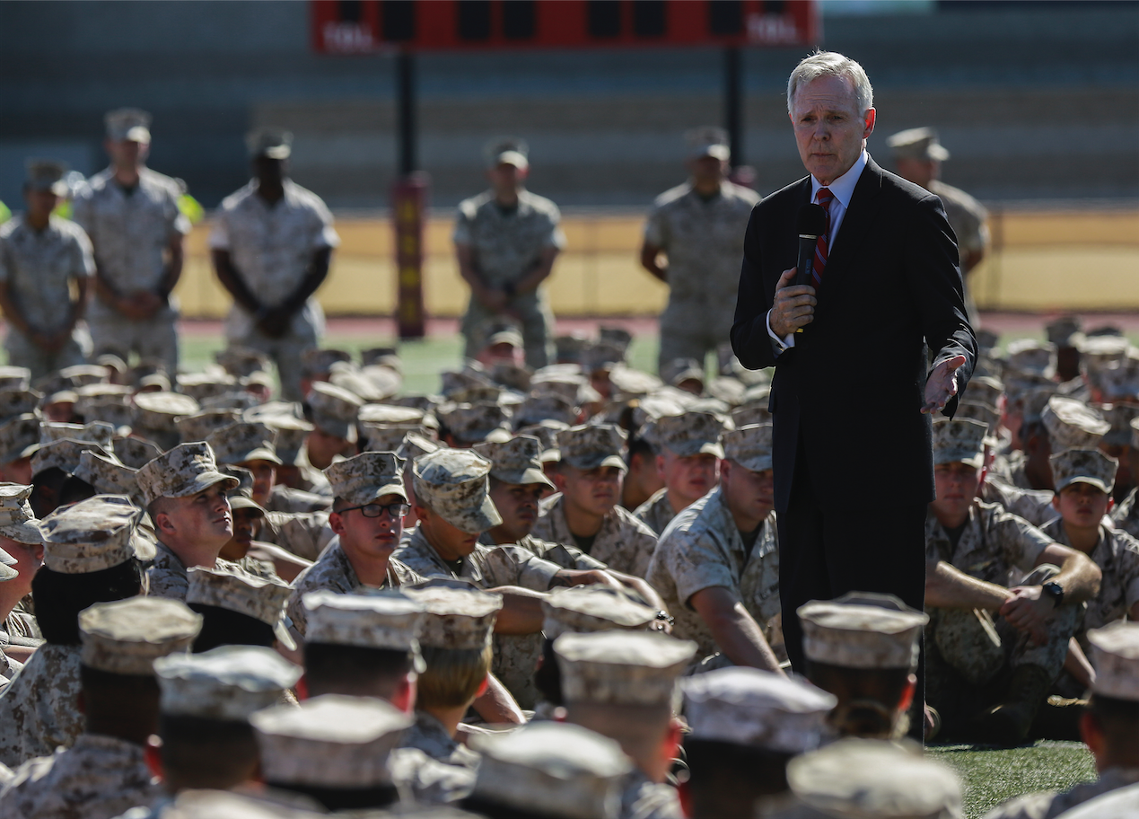 Secretary of the Navy Ray Mabus speaks to Marines and Sailors at Marine Corps Base Camp Pendleton, Calif., Oct. 19, 2016. US Marine Corps Photo