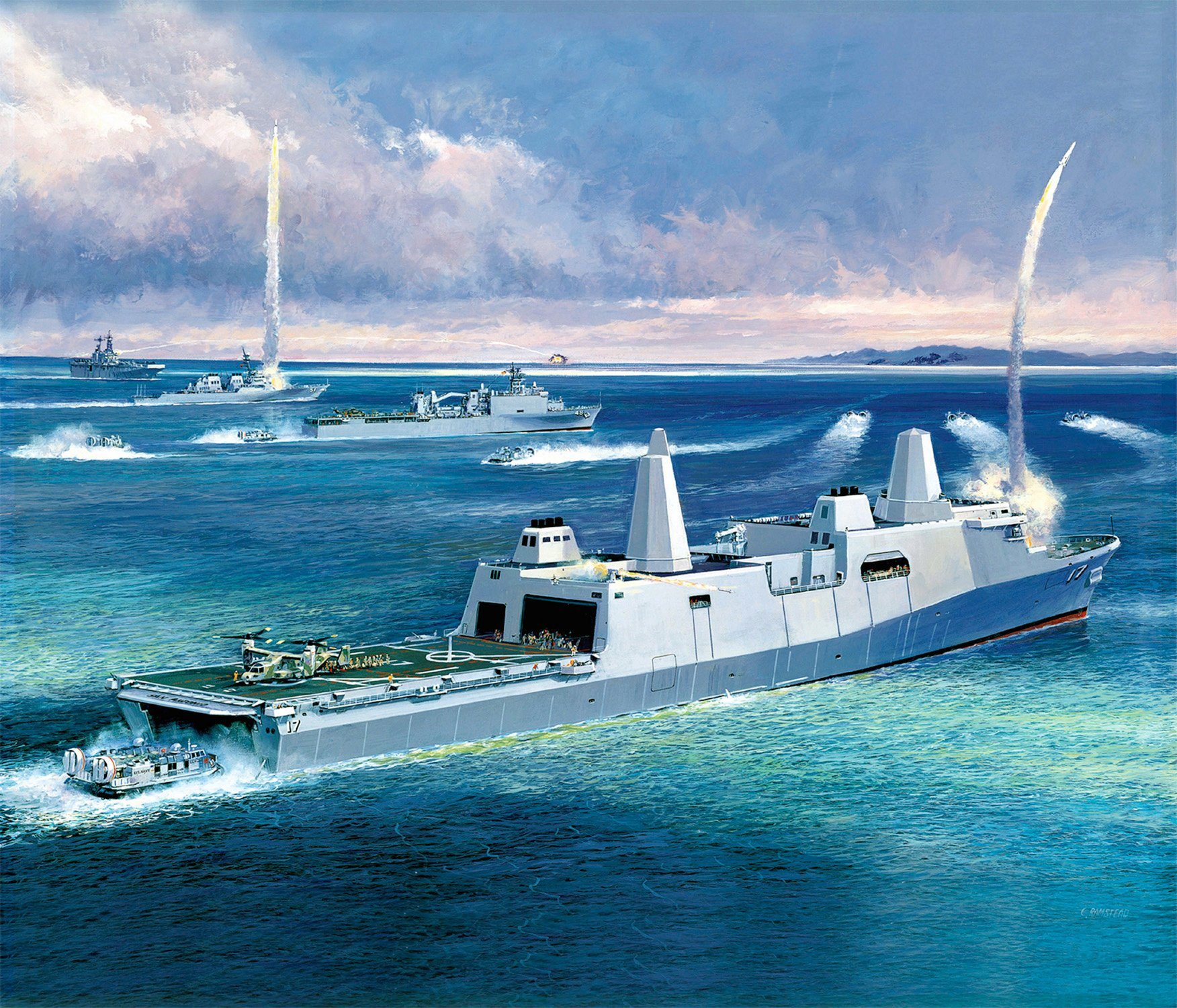 2003 Artist's concept of the San Antonio Class amphibious transport dock ships firing a missile from a vertical launch system in the ship's bow. US Navy Image