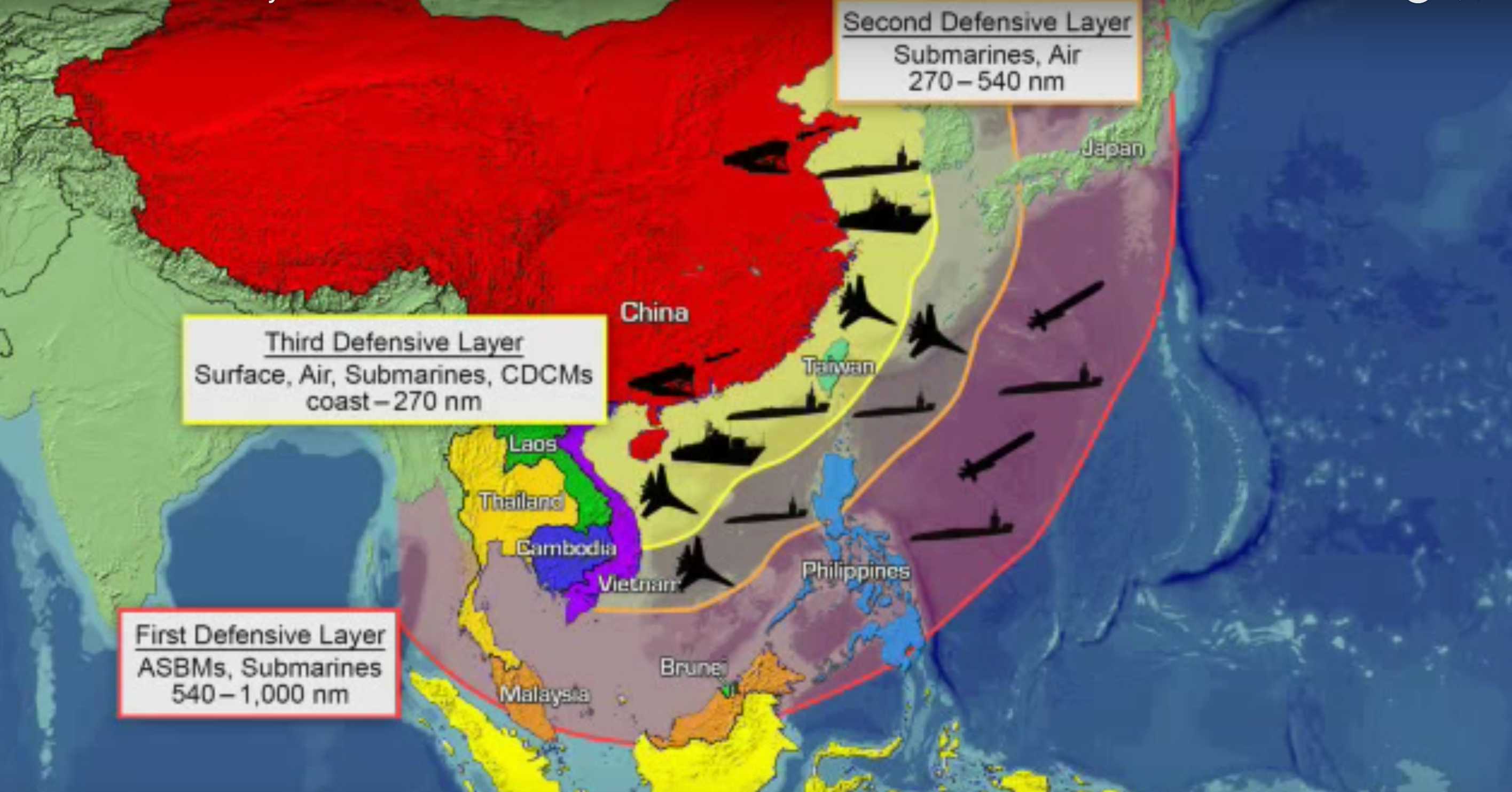 China's anti-access area denial defensive layers. Office of Naval Intelligence Image