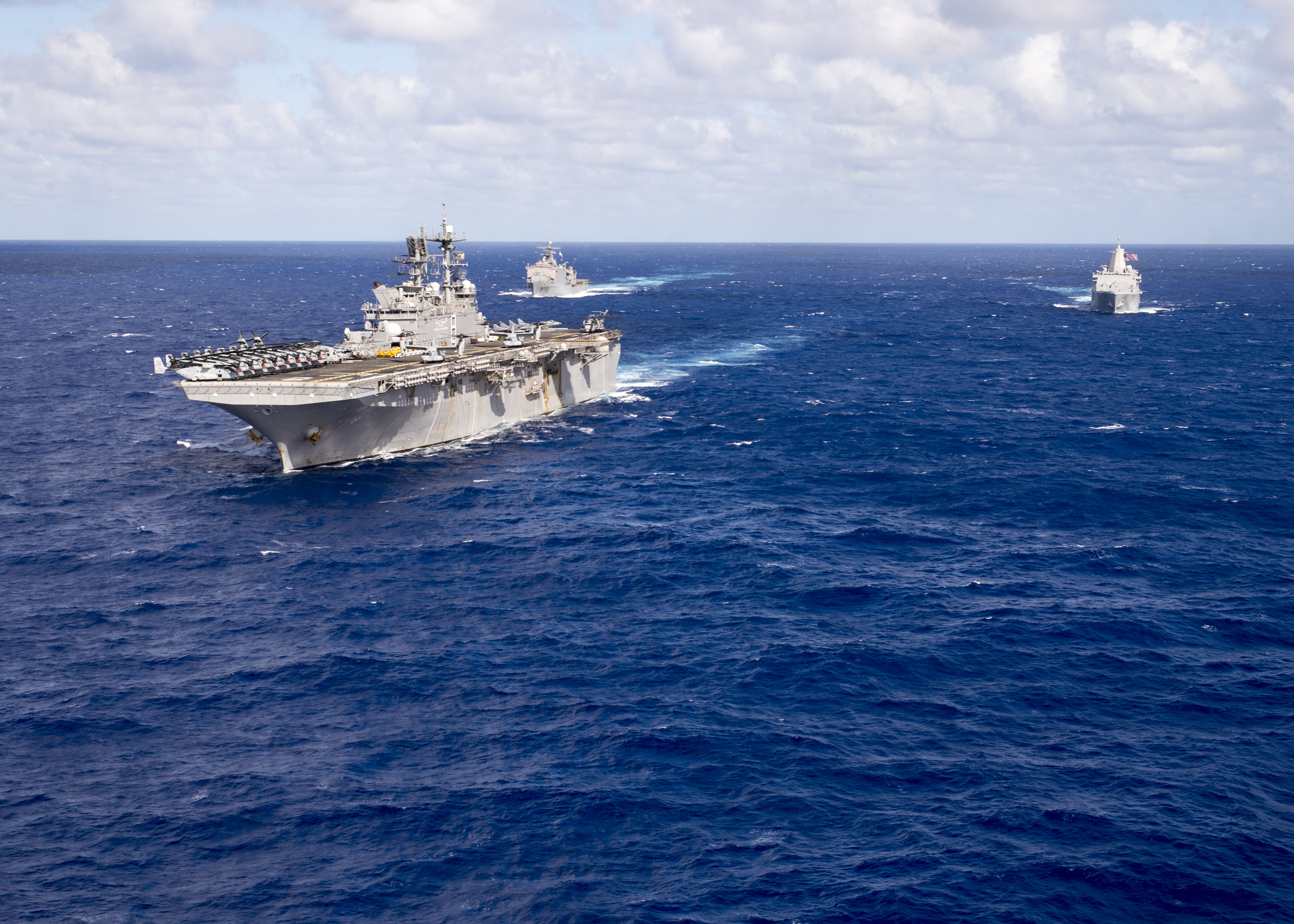 The Makin Island Amphibious Ready Group (ARG) underway in the western Pacific Ocean on Oct. 25, 2016. The Makin Island ARG is comprised of the amphibious assault ship USS Makin Island (LHD 8), the amphibious dock landing ship USS Comstock (LSD 45) and the amphibious transport dock ship USS Somerset (LPD 25), and is deployed with the embarked 11th Marine Expeditionary Unit. US Navy photo.