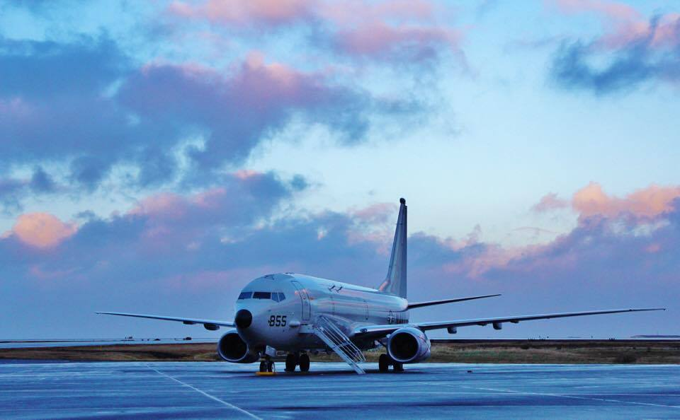 A P-8A Poseidon aircraft assigned to Patrol Squadron (VP) 45 is parked on the flight line of Naval Air Station Keflavik, Iceland. US Navy Photo