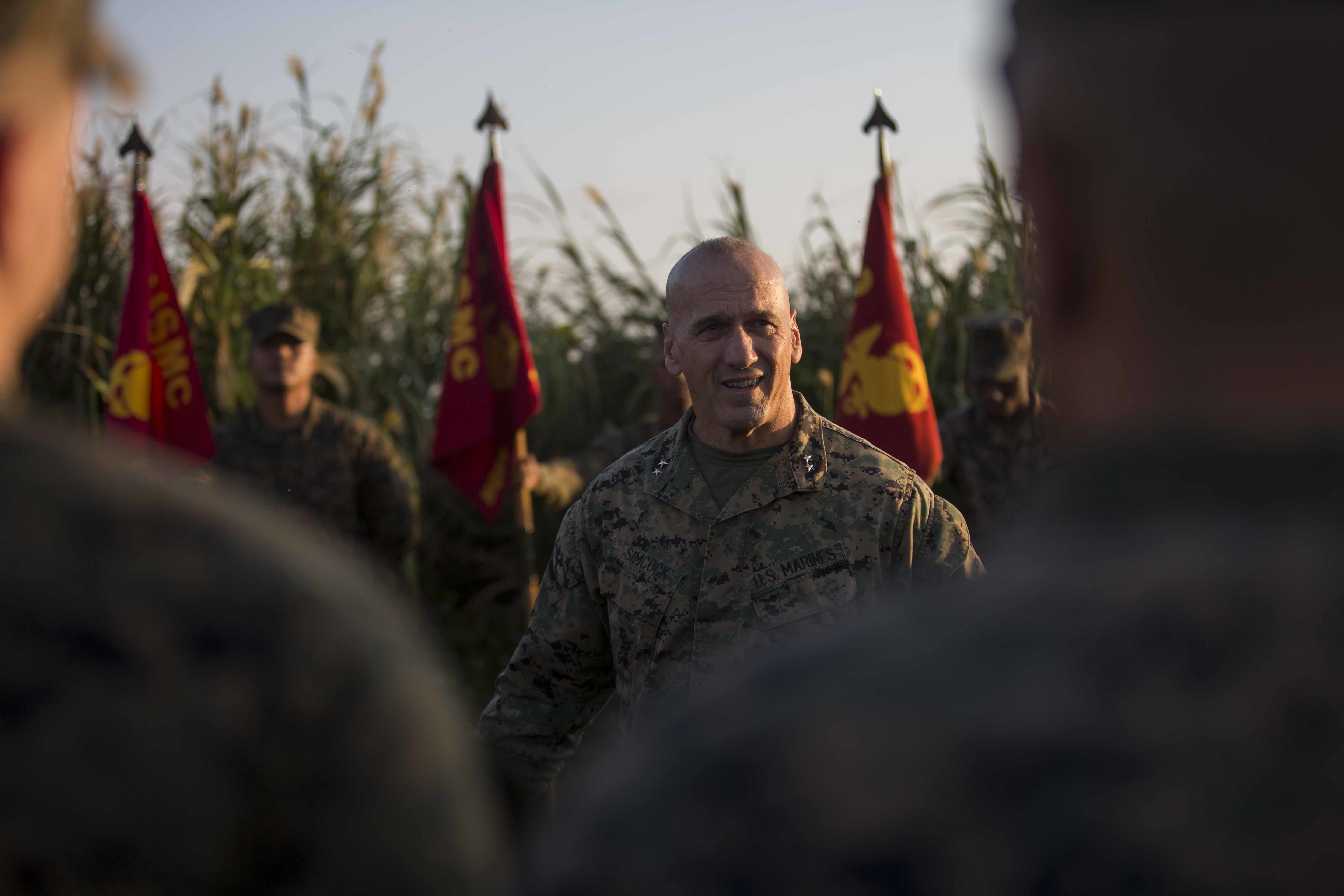 U.S. Marine Corps Maj. Gen. Richard L. Simcock II, commanding general of 3rd Marine Division, discusses with Marines and Sailors the significance of exercises like Blue Chromite 2017 to the greater Indo-Asia-Pacific region in Okinawa, Japan, Oct. 31, 2016. US Marine Corps photo.