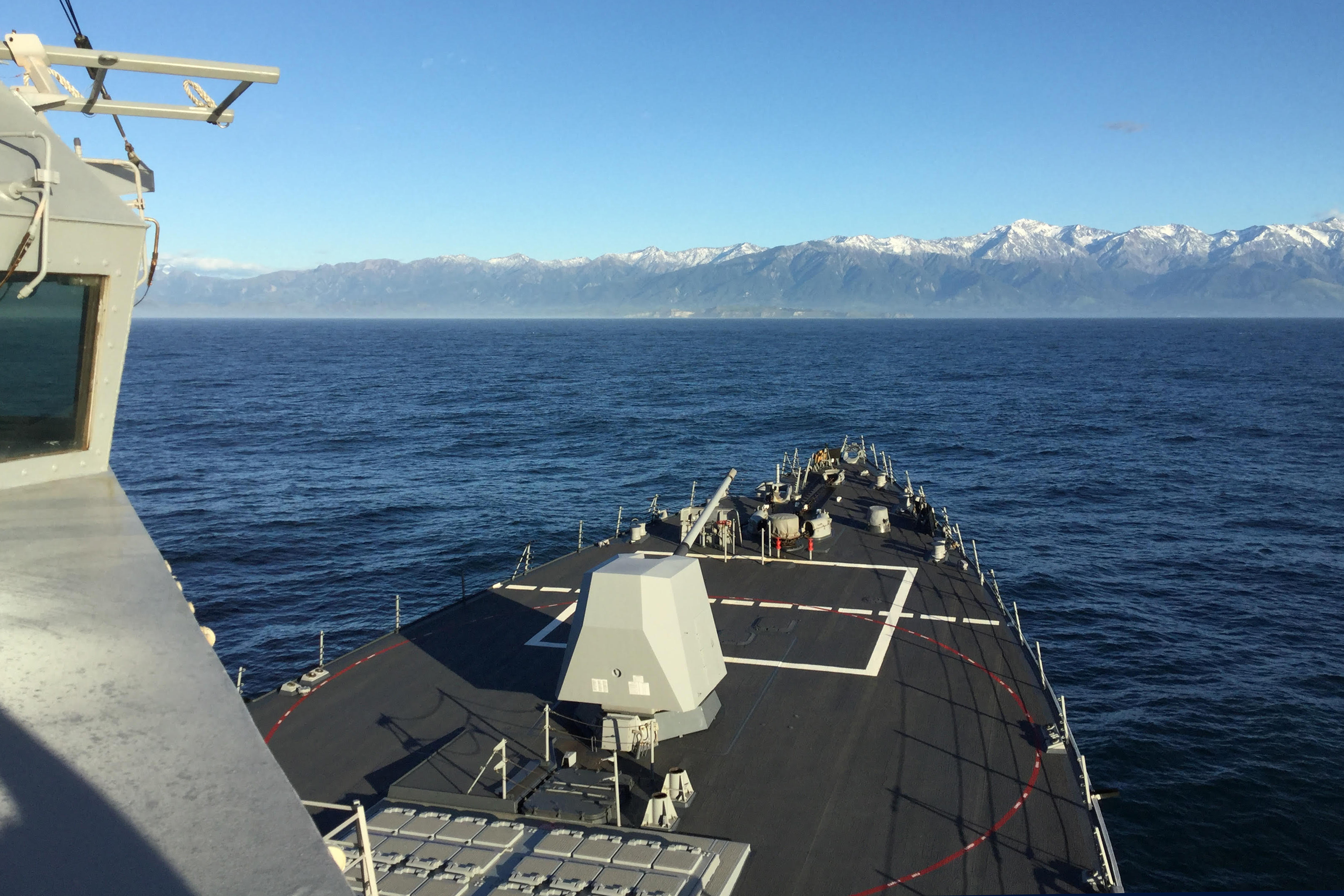 USS Sampson (DDG-102) operates off the coast of Kaikoura at the request of the government of New Zealand.