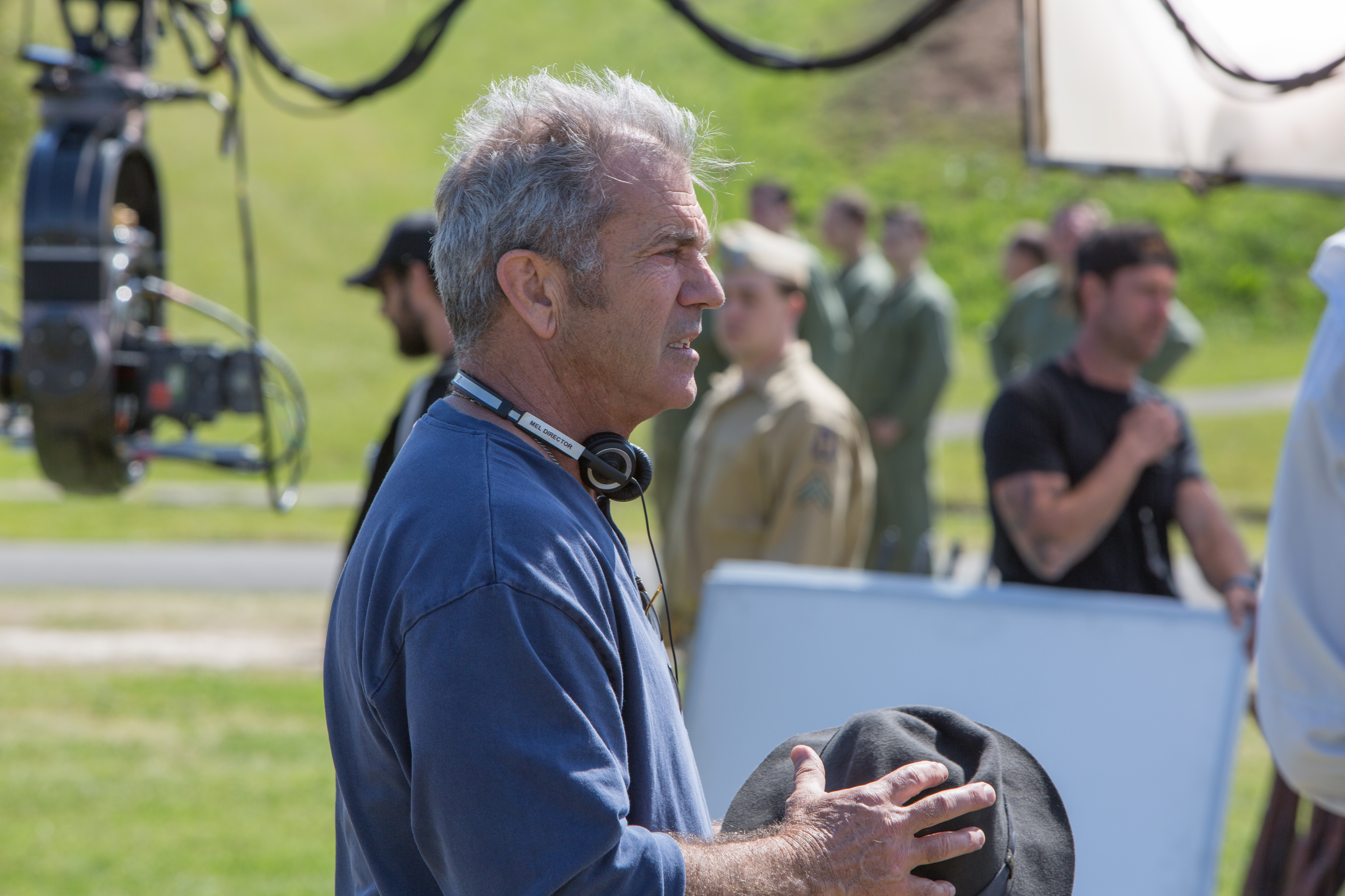Mel Gibson on set during the making of the film Hacksaw Ridge. Lionsgate Films Photo
