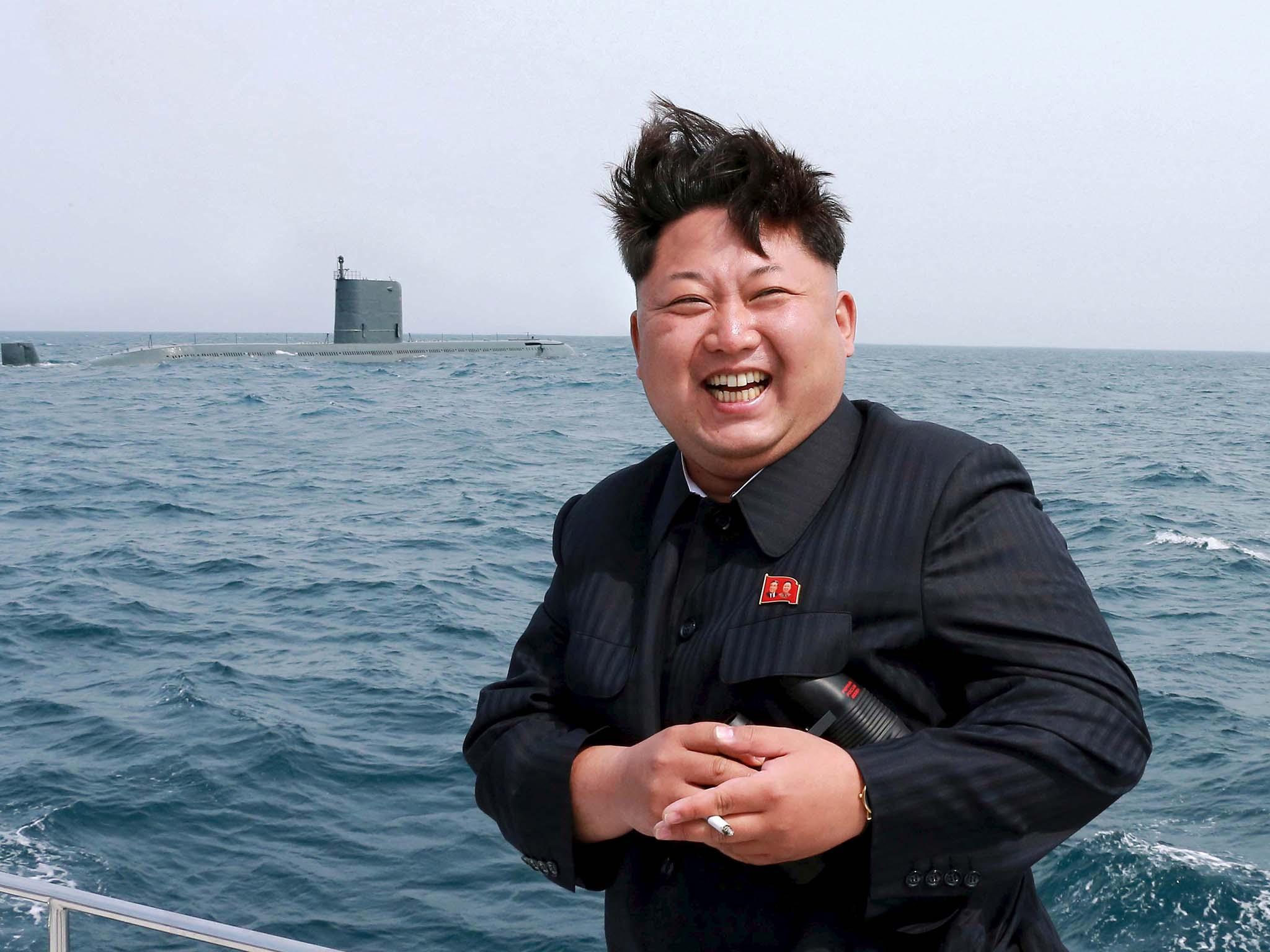 North Korean leader Kim Jong Un during a test-fire of a strategic submarine underwater ballistic missile in 2015. KCNA Photo