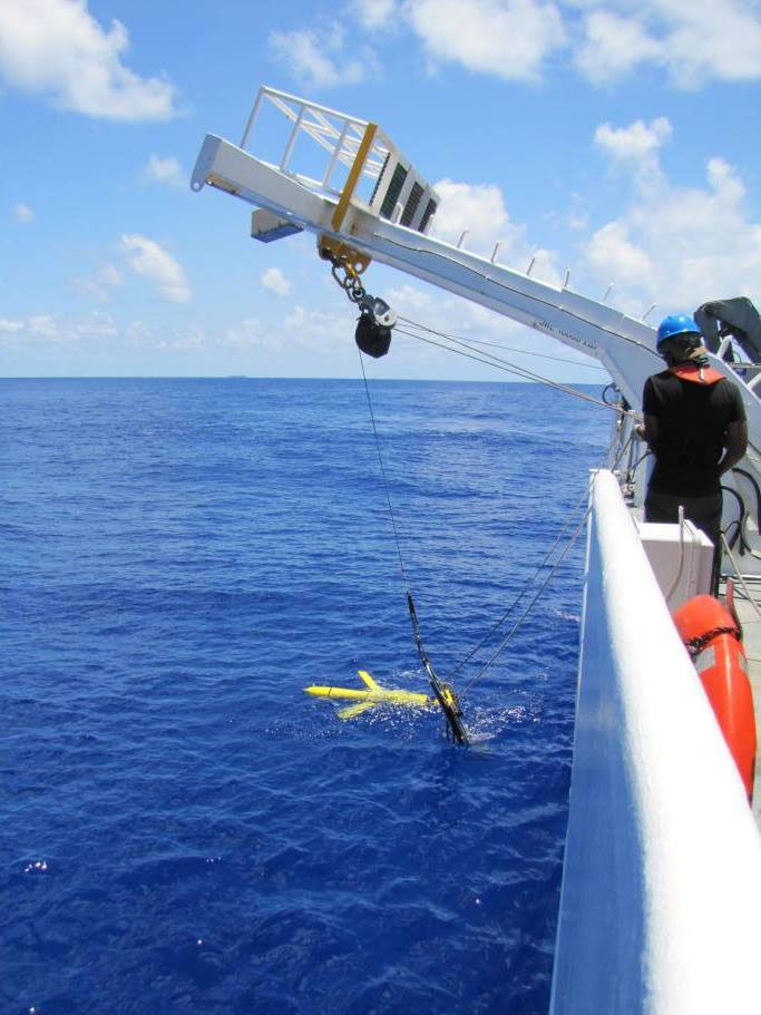 A littoral battlespace sensing-glider (LBS-G) is deployed from a Naval Oceanographic Office (NAVOCEANO) T-AGS 60-class vessel. US Navy Photo
