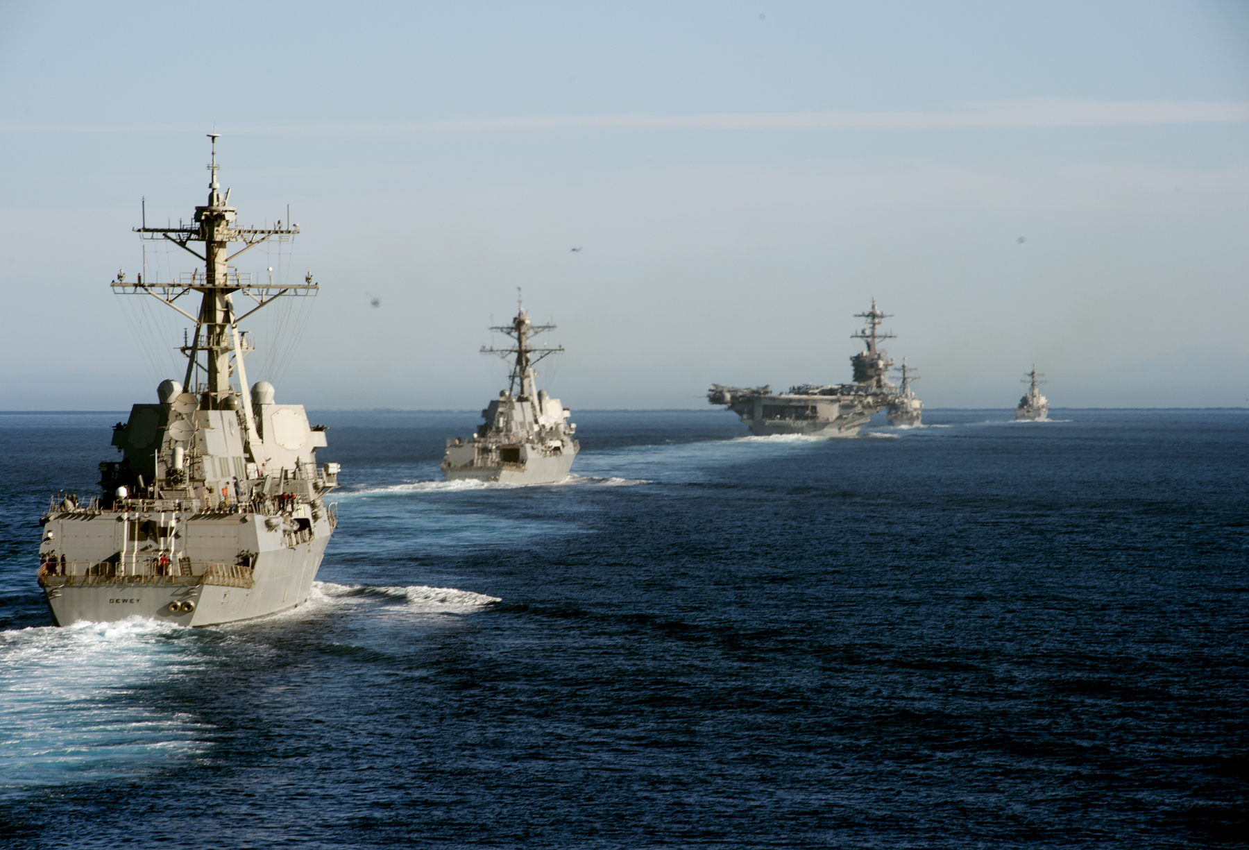 USS Dewey (DDG-105), USS Wayne E. Meyer (DDG-108), USS Carl Vinson (CVN-70), USS OÕKane (DDG-77) and USS Sterett (DDG-104) participate in a show of force transit training exercise on Nov. 4, 2016. US Navy Photo