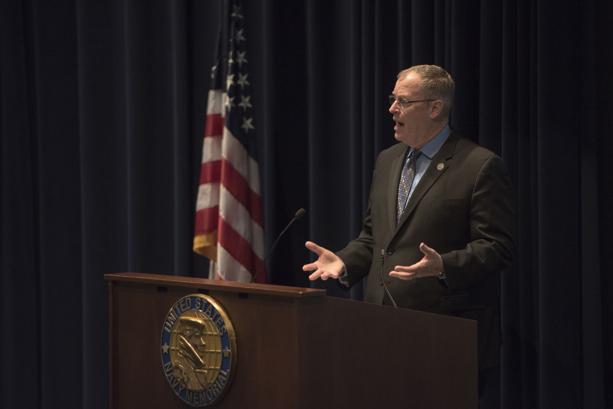 Deputy Secretary of Defense Bob Work speaks during the Future Strategy Forum 2016 at the Arleigh Burke Theater in Washington, D.C., Dec. 5, 2016. DoD Photo