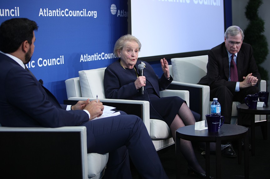 Former Secretary of State Madeline Albright speaking Wednesday at The Atlantic Council. Atlantic Council Photo