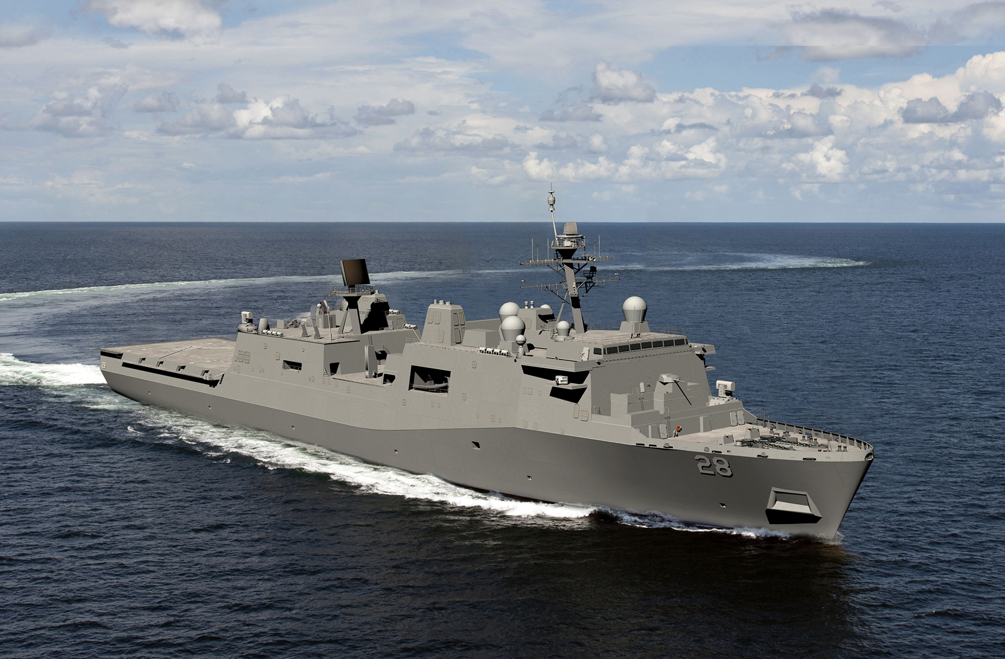 An artist's concept of the 12th San Antonio-class (LPD-17) amphibious warship Fort Lauderdale. HII Image