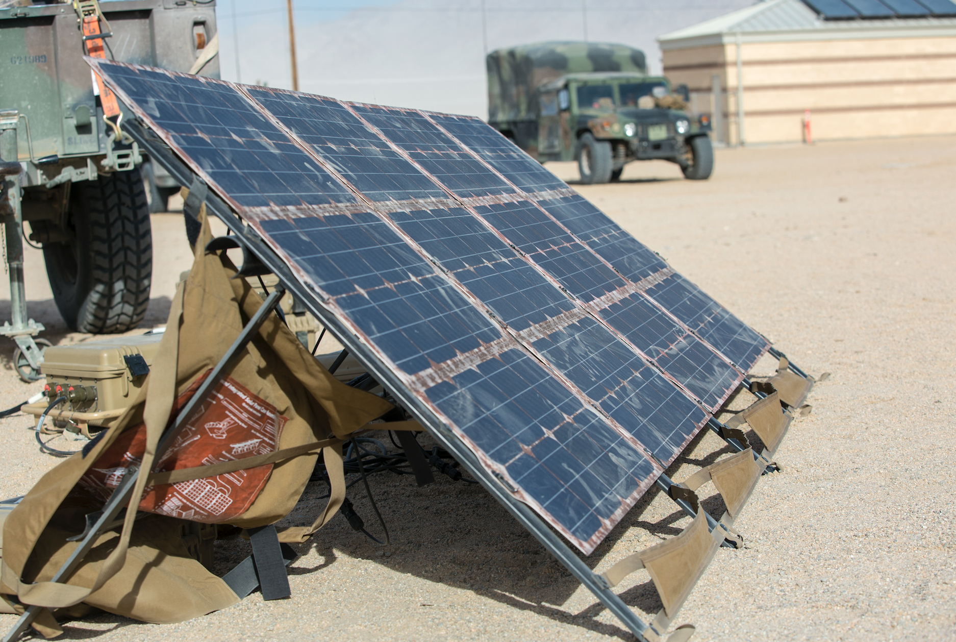 Marines with 3rd Battalion, 11th Marine Regiment, display the Ground Renewable Expeditionary Electronics Network System during the Energy Capability Exercise, in alignment with the Great Green Fleet initiative, at Camp Wilson aboard the Marine Corps Air Ground Combat Center, Twentynine Palms, Calif., Dec. 6, 2016. Marine Corps Photo