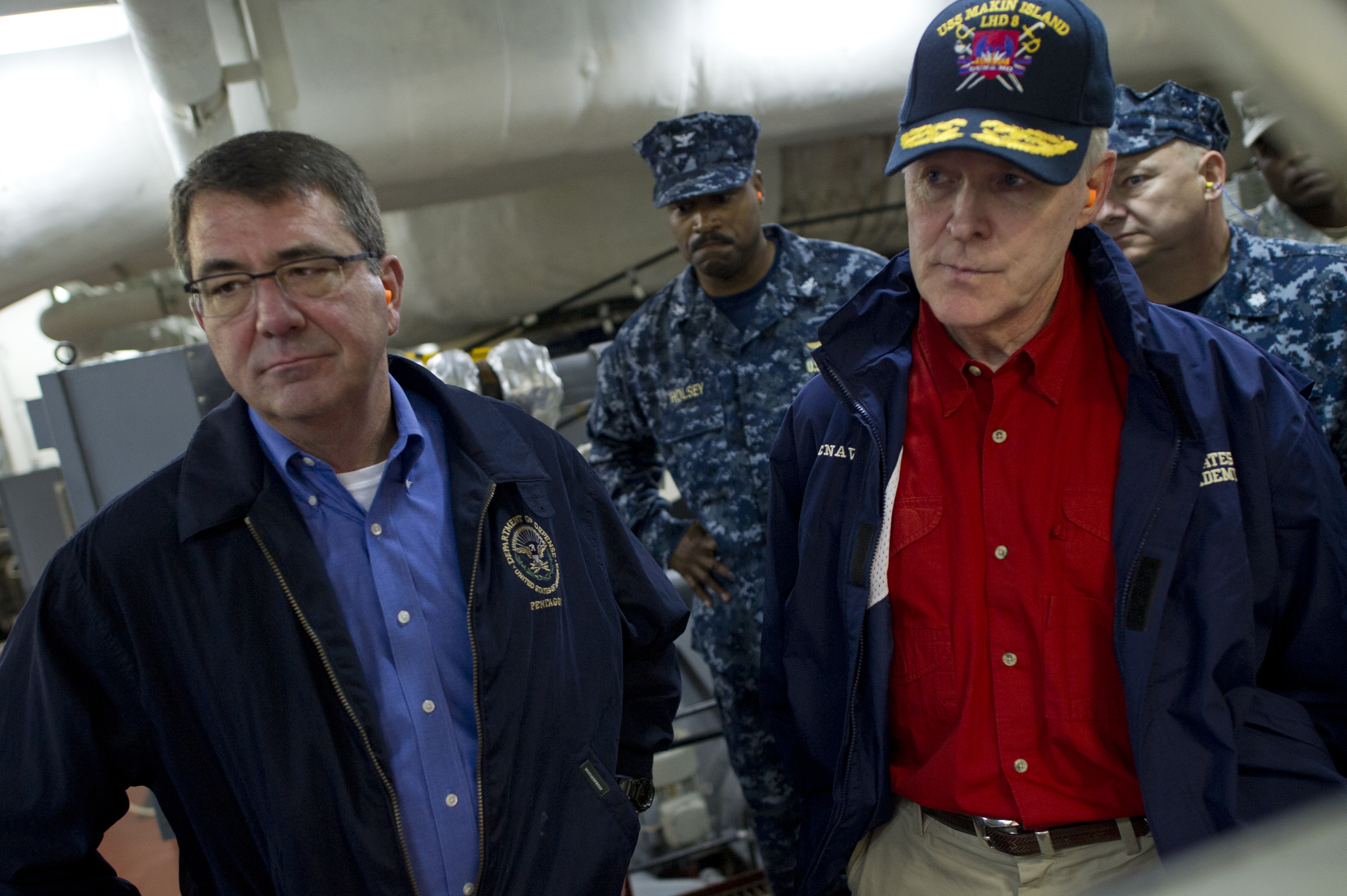 Secretary of Defense Ashton B. Carter and Secretary of the Navy Ray Mabus tour USS Makin Island (LHD-8) on Sept. 27, 2012. DoD Photo