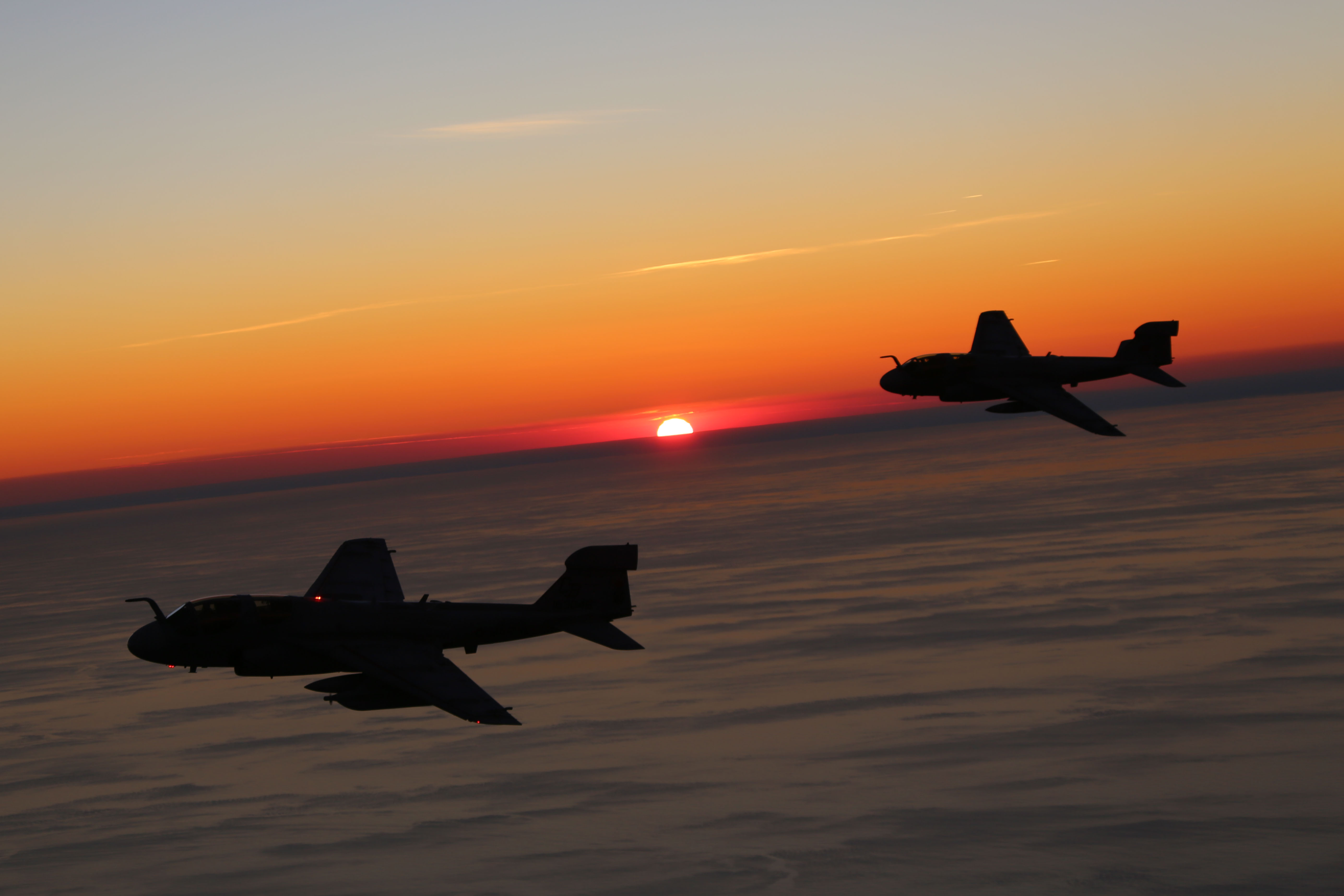 Two EA-6B Prowlers, belonging to 2nd Marine Aircraft Wing while conducting aerial maneuvers during an air-to-air refuel training exercise over the Atlantic Ocean on Sept. 14, 2015. US Marine Corps