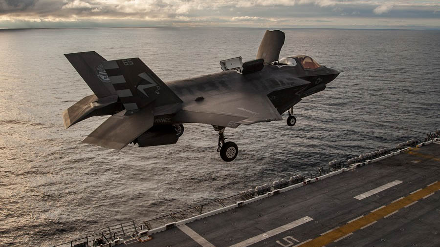 USS AMERICA, At Sea - An F-35B Lightning II aircraft completes Envelope Expansion Testing during a Short Take-off Vertical Landing aboard USS America, Oct. 30, 2016. US Marine Corps Photo