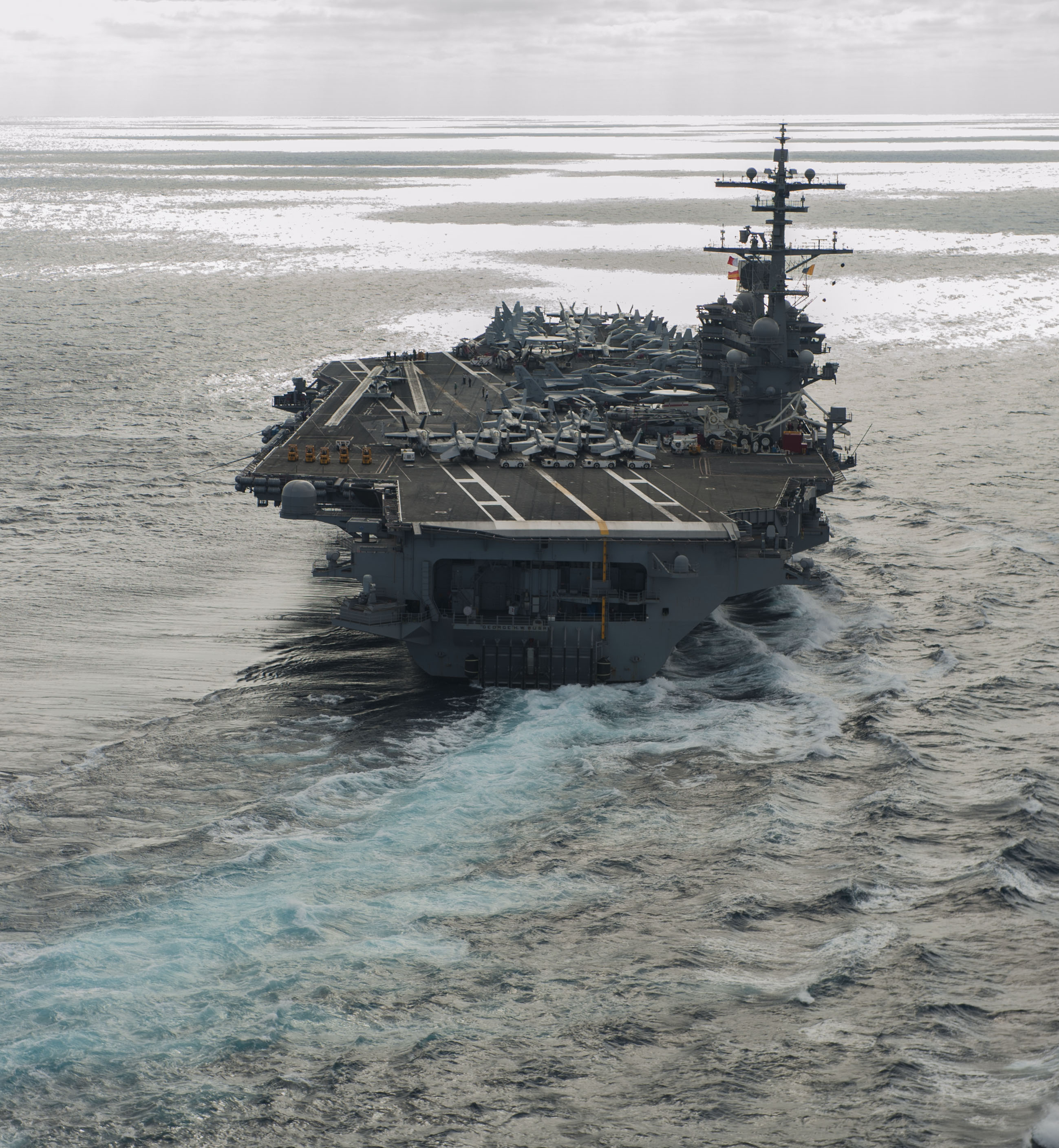 USS George H.W. Bush (CVN-77) sails through the Atlantic Ocean on Dec. 6, 2016. US Navy Photo