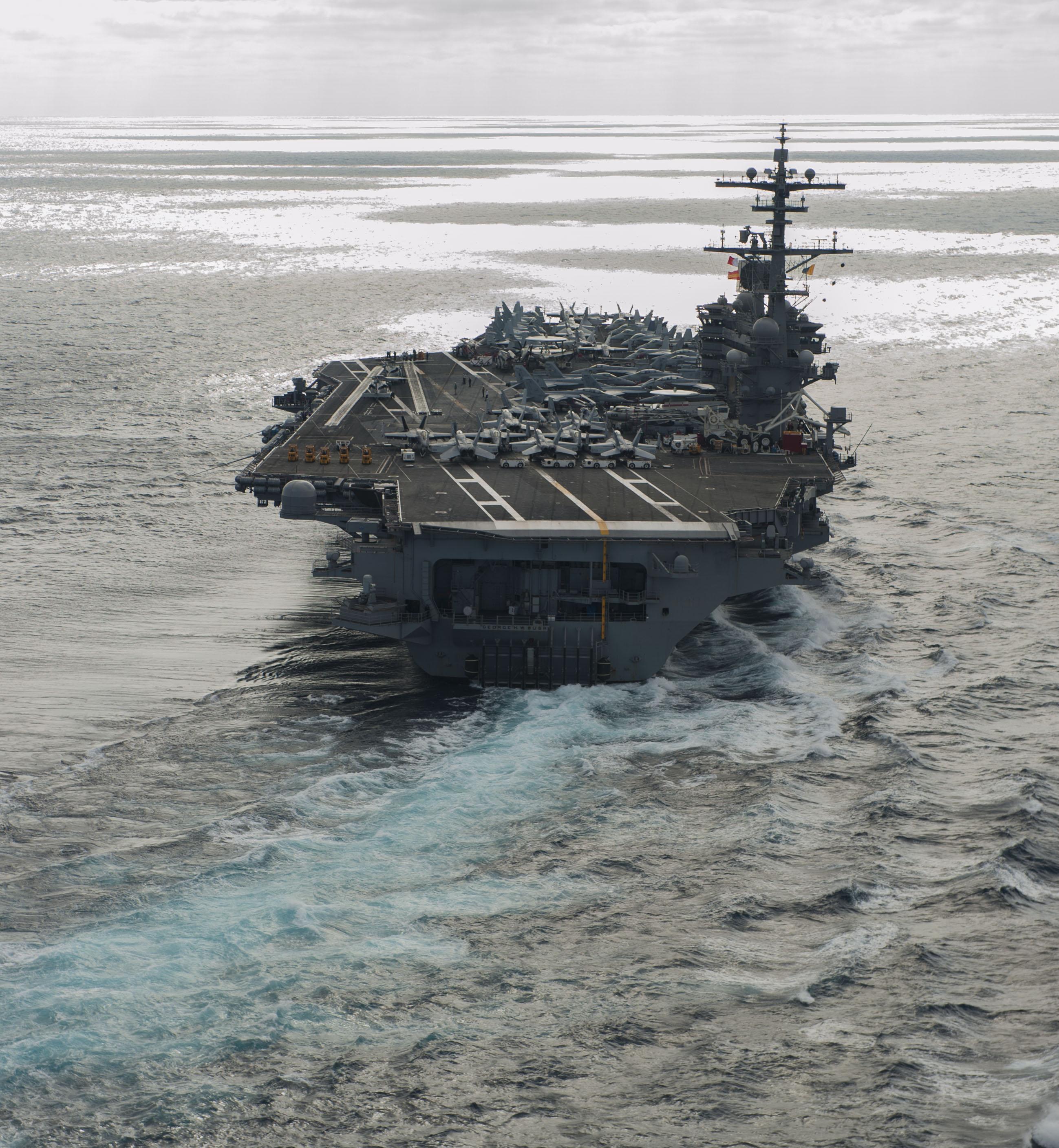 USS George H.W. Bush (CVN-77) sails through the Atlantic Ocean on Dec. 6, 2016. US Navy Photo