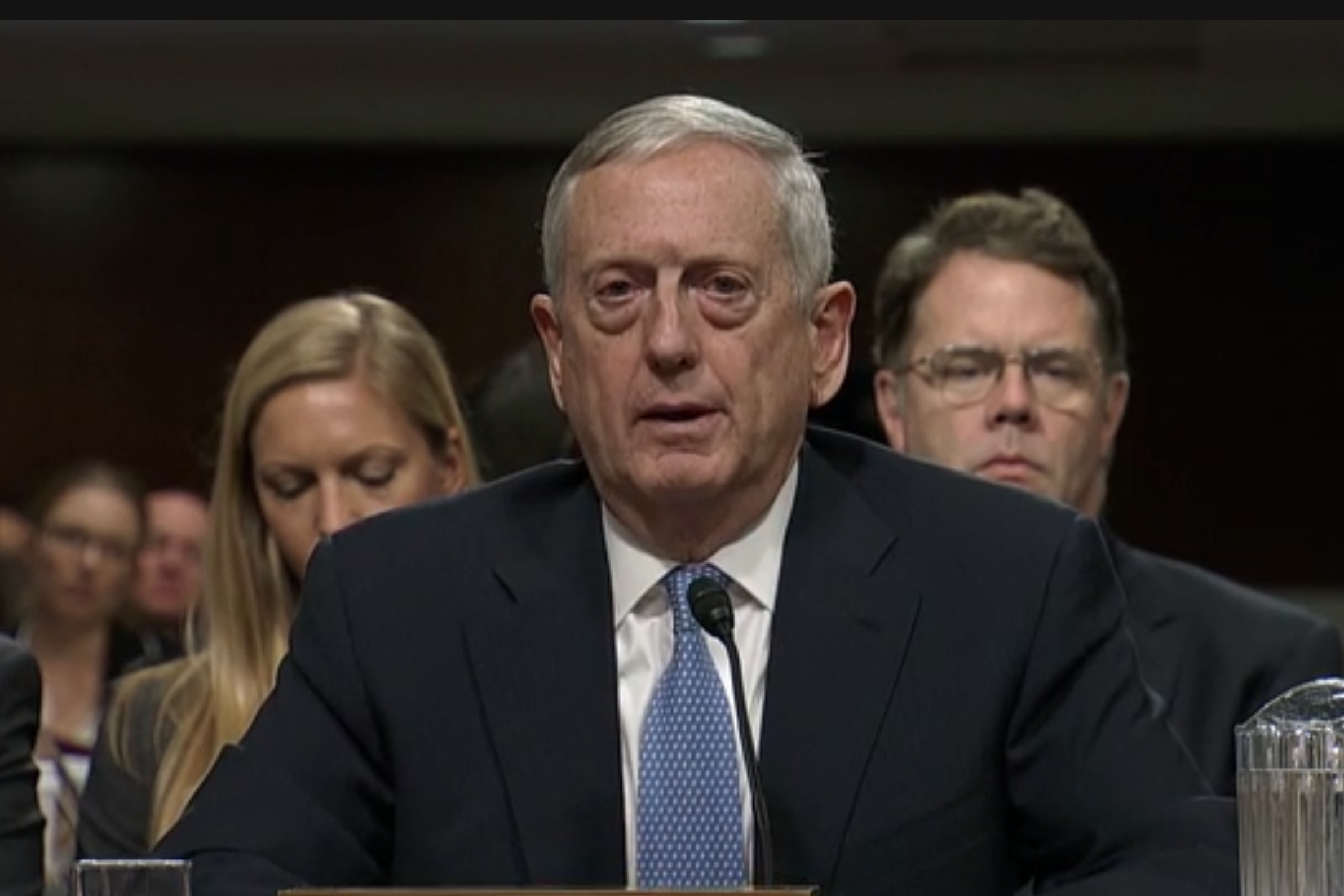Retired Gen. James Mattis testifying before the Senate Armed Services Committee on Jan. 12, 2015. CSPAN Image
