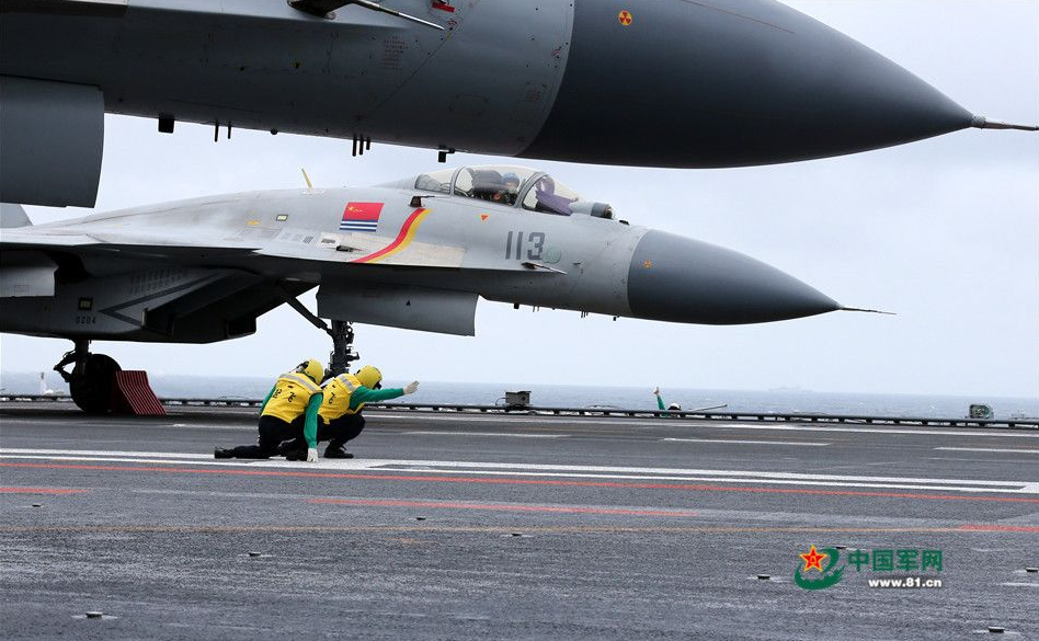 Shenyang J-15 Flying Shark prepare to launch on from carrier Liaoning