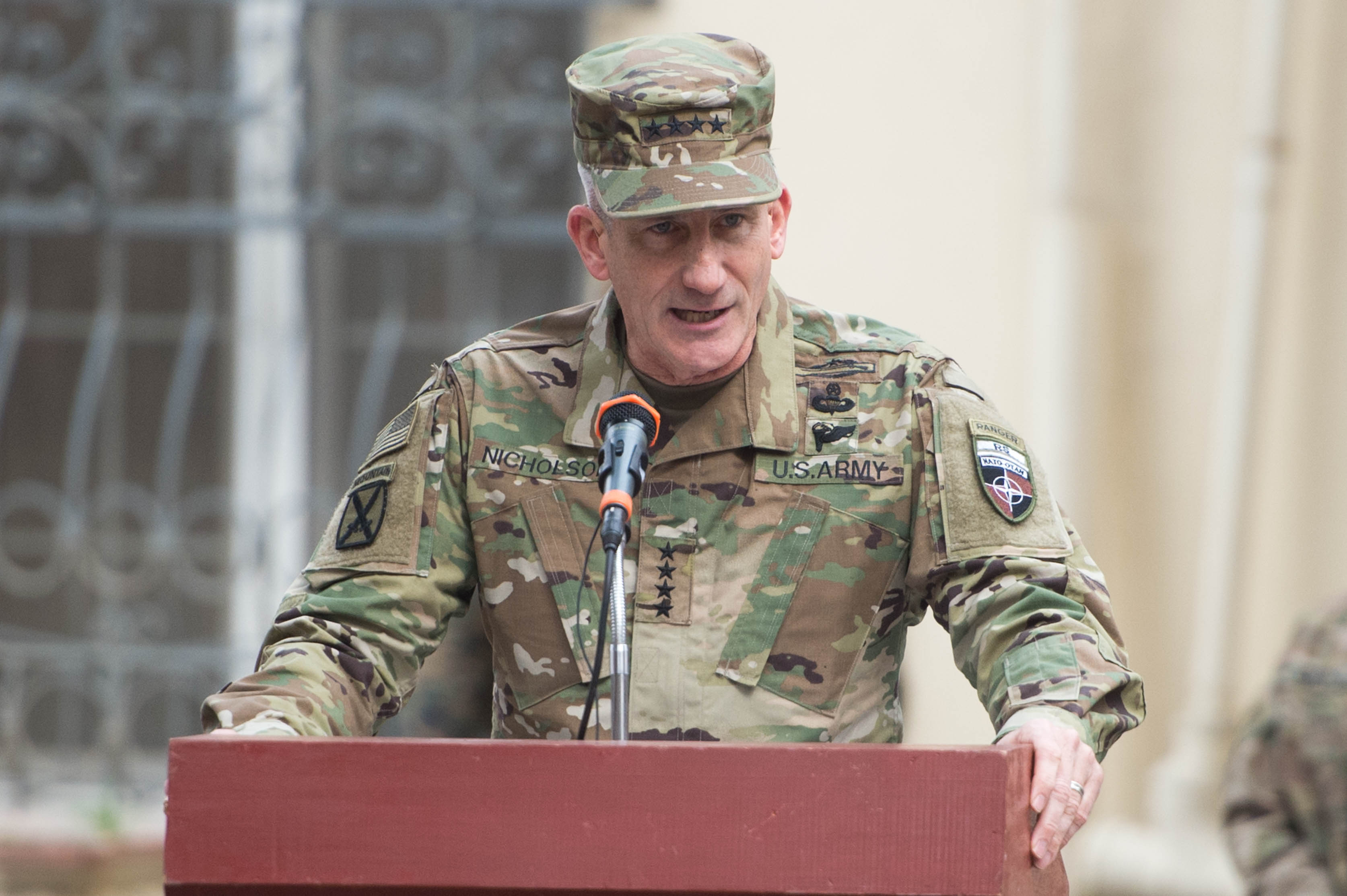 Gen. John W. Nicholson Jr., addresses the audience during the change-of-command ceremony in Kabul, Afghanistan, March 2, 2016. US Army Photo