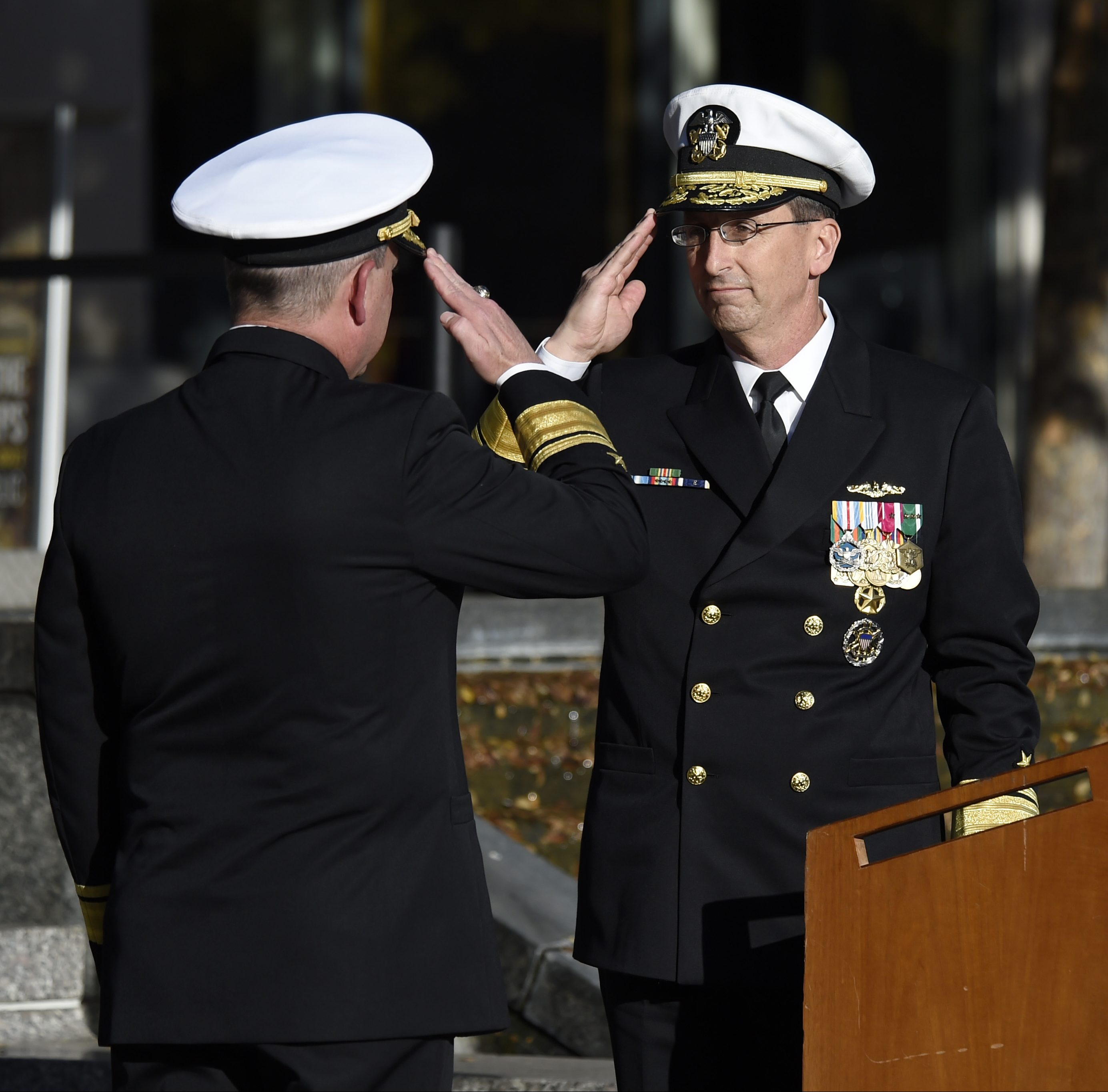 Rear Adm. David J. Hahn, right, relieves Rear Adm. Mat W. Winter as the chief of naval research (CNR) during a change-of-command ceremony at the U.S. Navy Memorial in Washington, D.C. on Nov. 18, 2016. US Navy photo.