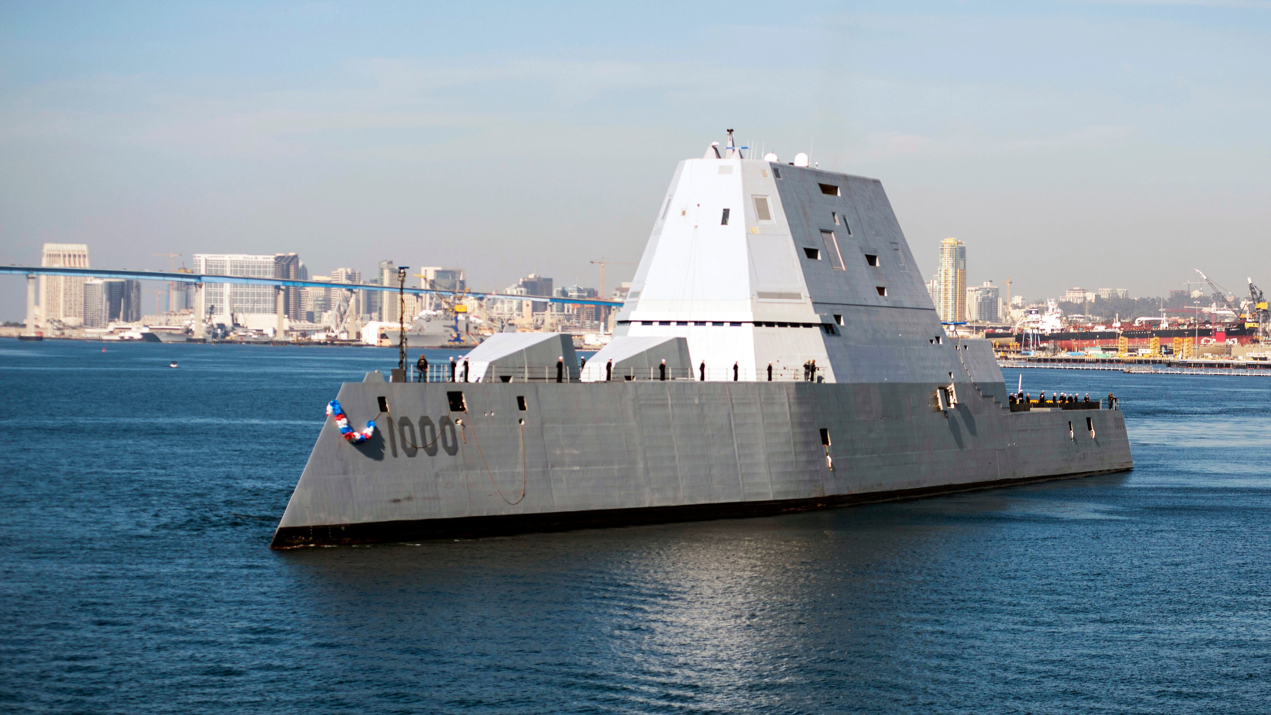 The guided-missile destroyer USS Zumwalt (DDG 1000) arrives at its new homeport in San Diego on Dec. 8, 2016. US Navy photo.