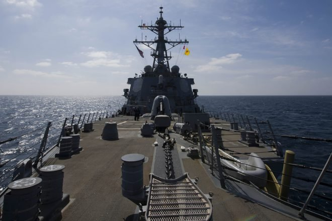 USS Cole off Yemen Following Saudi Frigate Attack