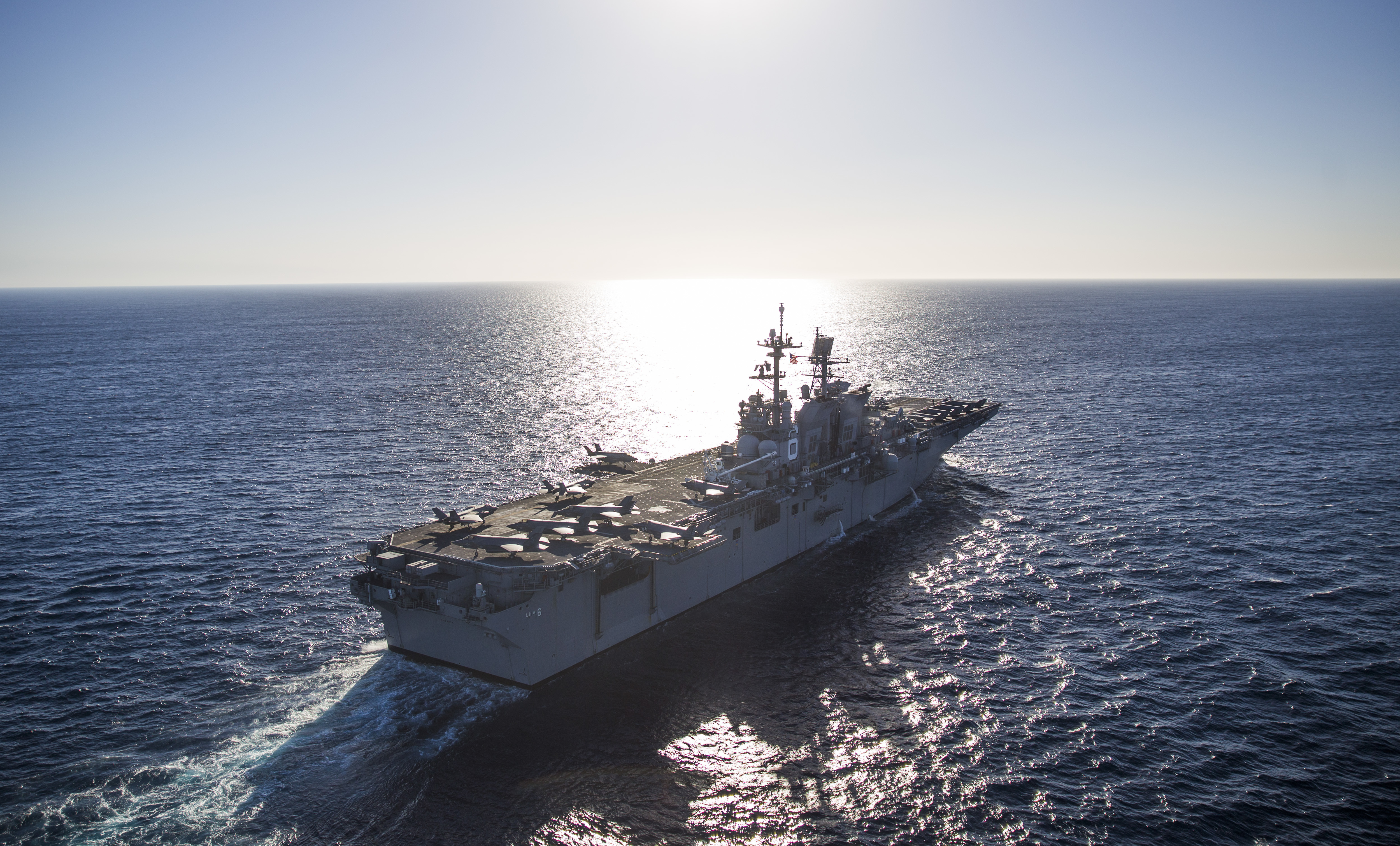 The USS America (LHA 6), floats off the coast of California, November 18, 2016. US Marine Corps photo.
