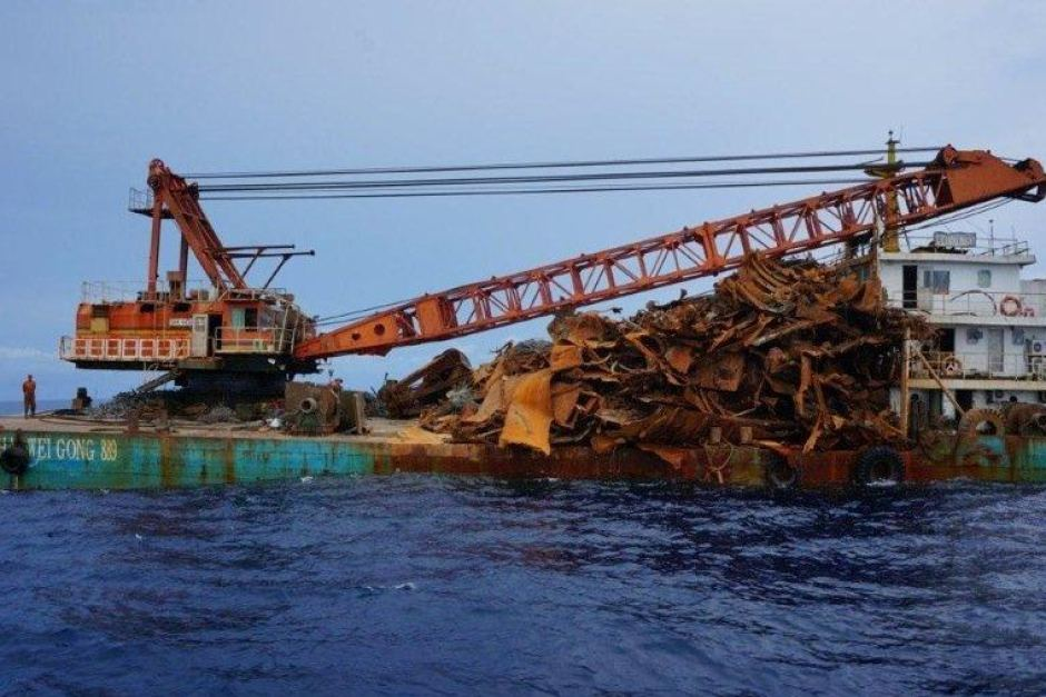 Salvage crane was caught stripping the wreck of a Dutch submarine in October 2012. Photo via ABC