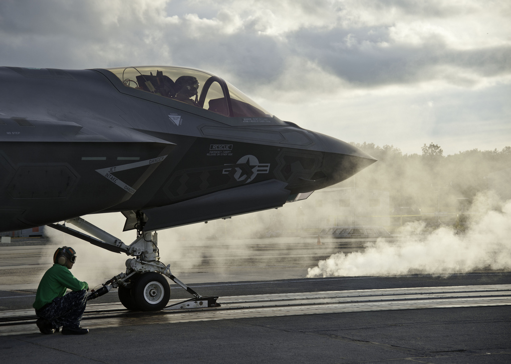 F-35C Launches from an aircraft carrier. US Navy Photo