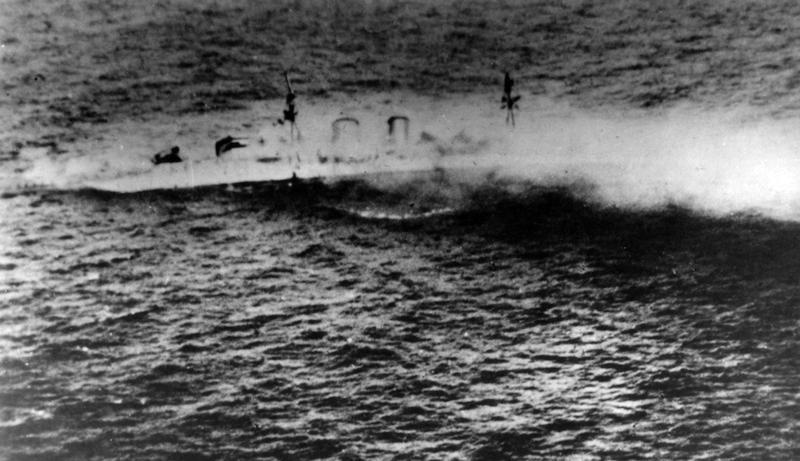 Japanesephotograph of HMS Exeter sinking in the Second Battle of the Java Sea
