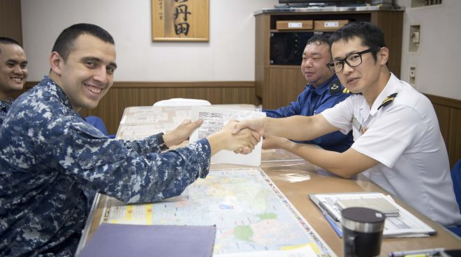 U.S., Japanese Destroyers Conduct First-Of-Kind Parts Swaps During Interoperability Exercise