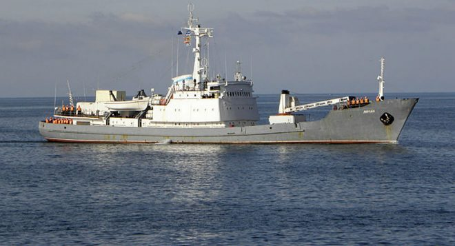 Russian Navy Spy Ship Sinks After Colliding with Turkish Freighter in Black Sea