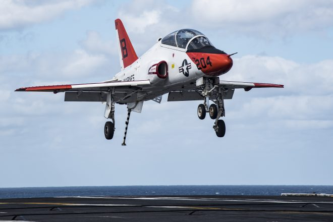 Temporary Fix Identified for T-45C Trainer Oxygen System Failures; Students Still Can't Land On Carriers Until Permanent Solution Found