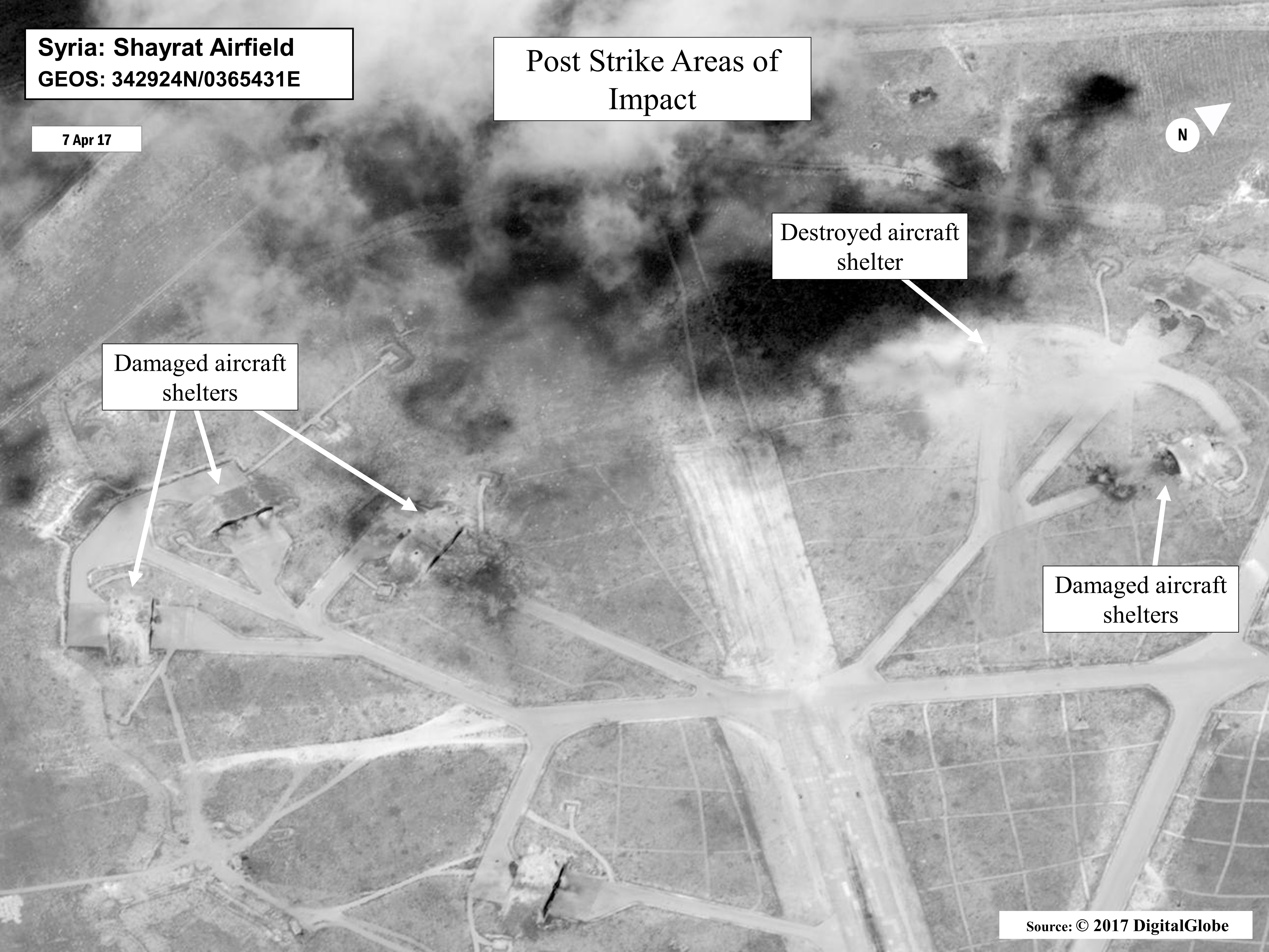 Images of the aftermath of the U.S. strike on the al-Sharyat Airfield in Syria. Image via DoD