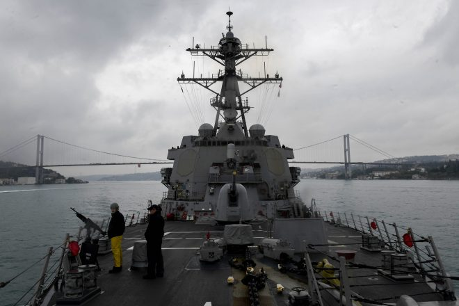Destroyer USS Oscar Austin Leaves Black Sea