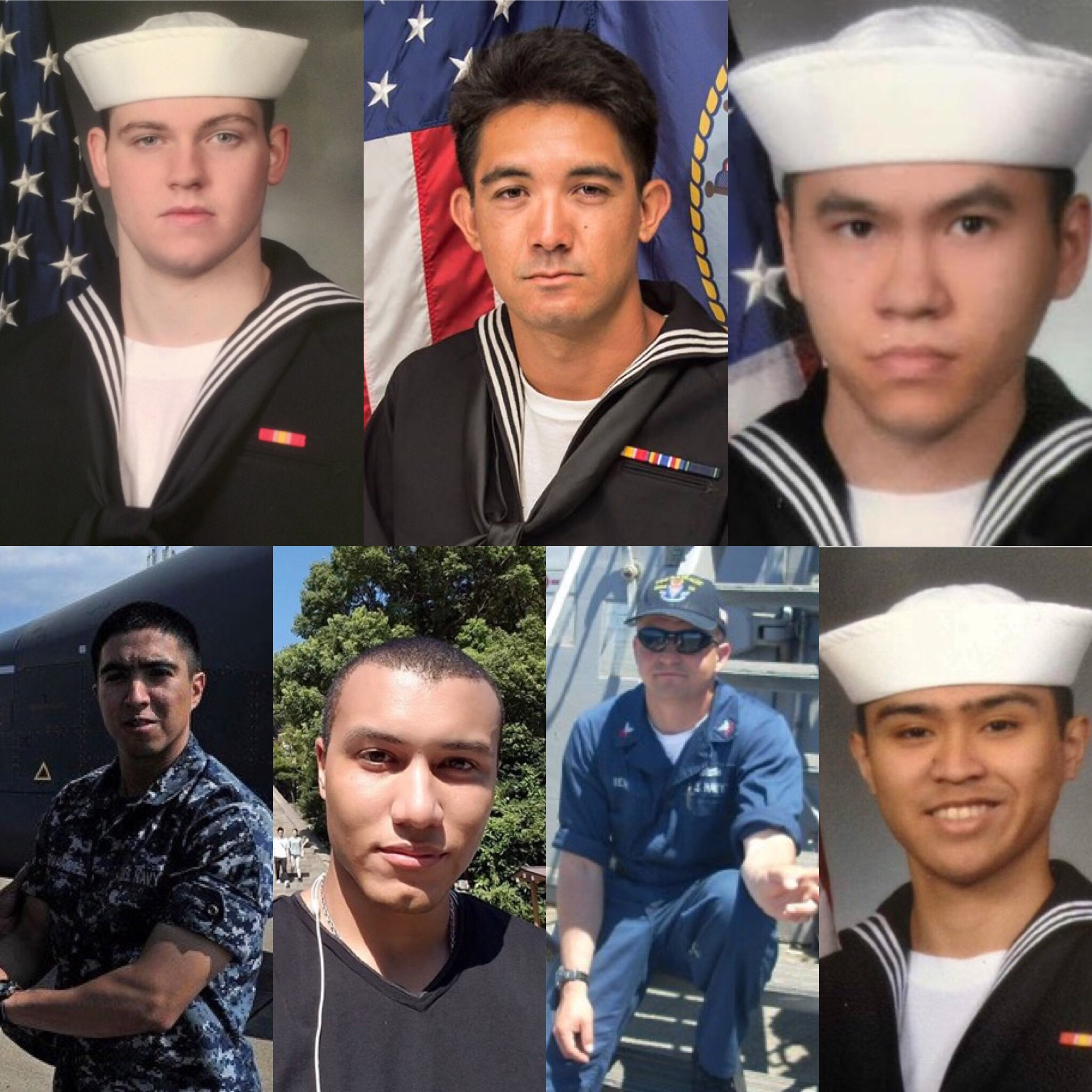 A photo compilation depicting the seven sailors who died during June 17, 2017 collision between a merchant ship and the guided missile destroyer USS Fitzgerald. USNI News Image