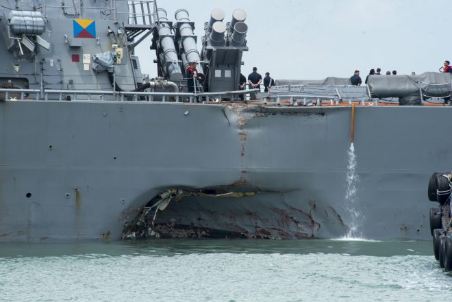 Video, Photos Show Collision Damage to USS John McCain as Ship Arrives in Singapore