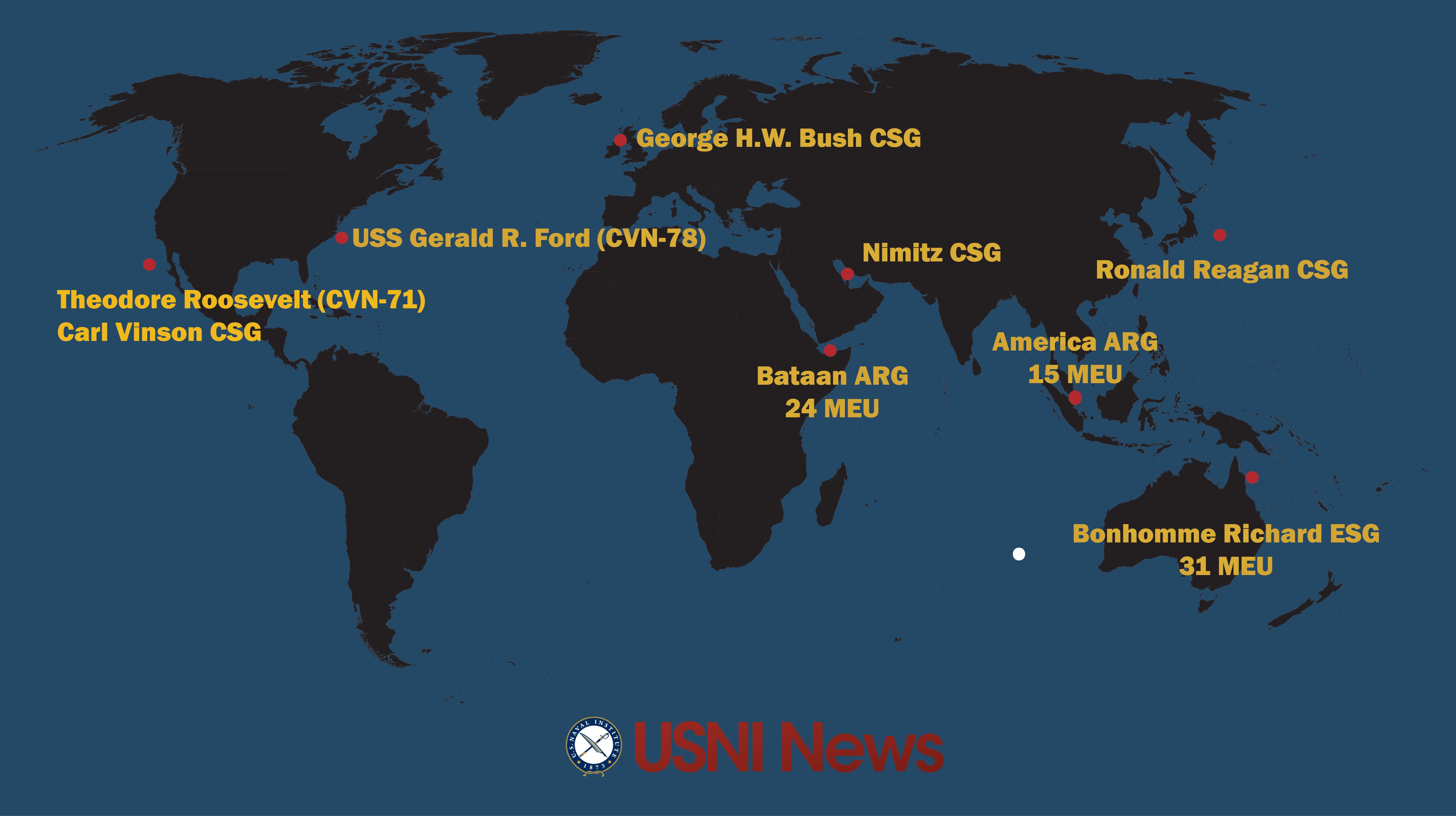 USNI News Fleet and Marine Tracker: Aug. 7, 2017
